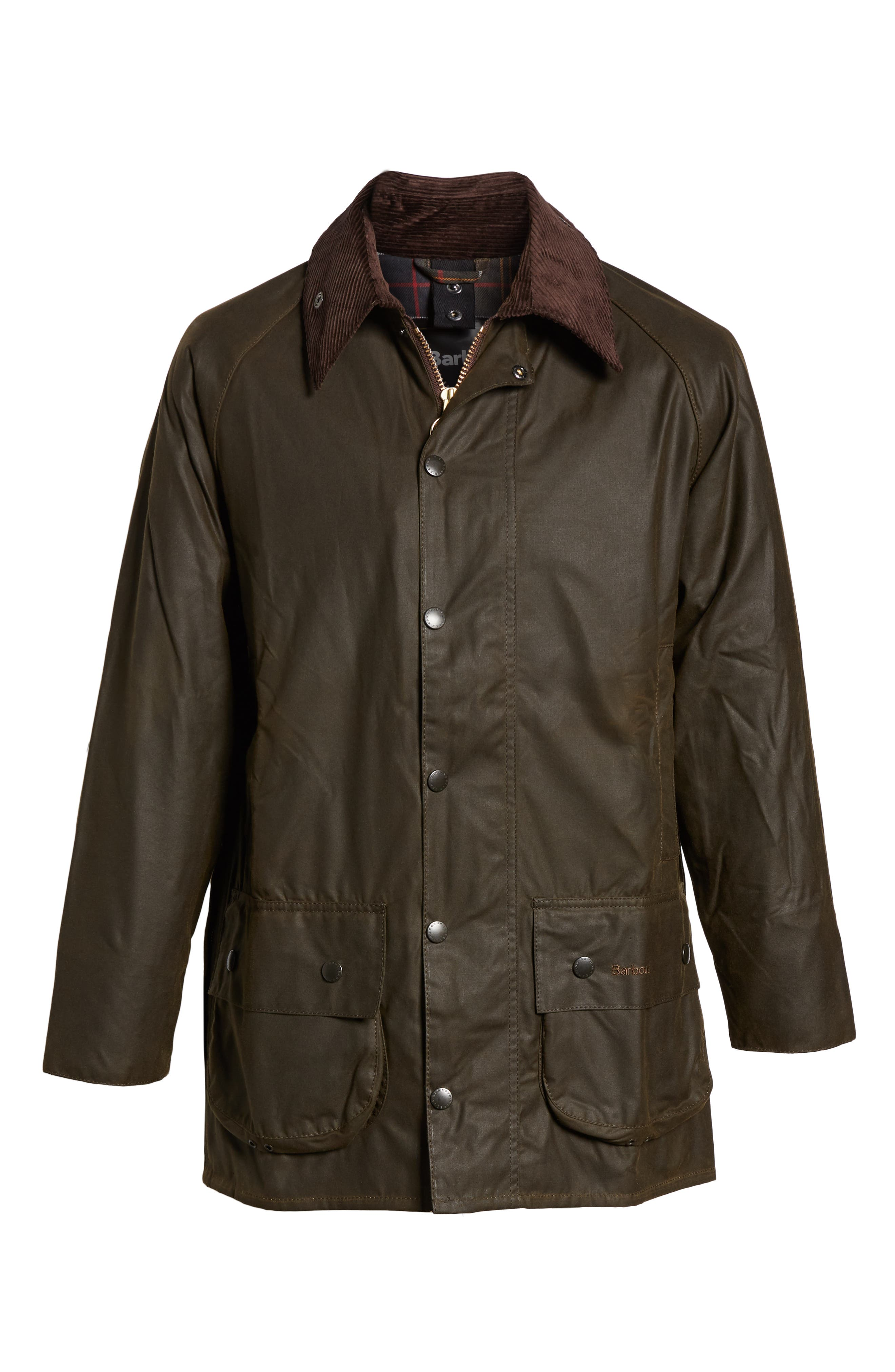 BARBOUR, 'Classic Beaufort' Relaxed Fit Waxed Cotton Jacket, Alternate thumbnail 7, color, OLIVE