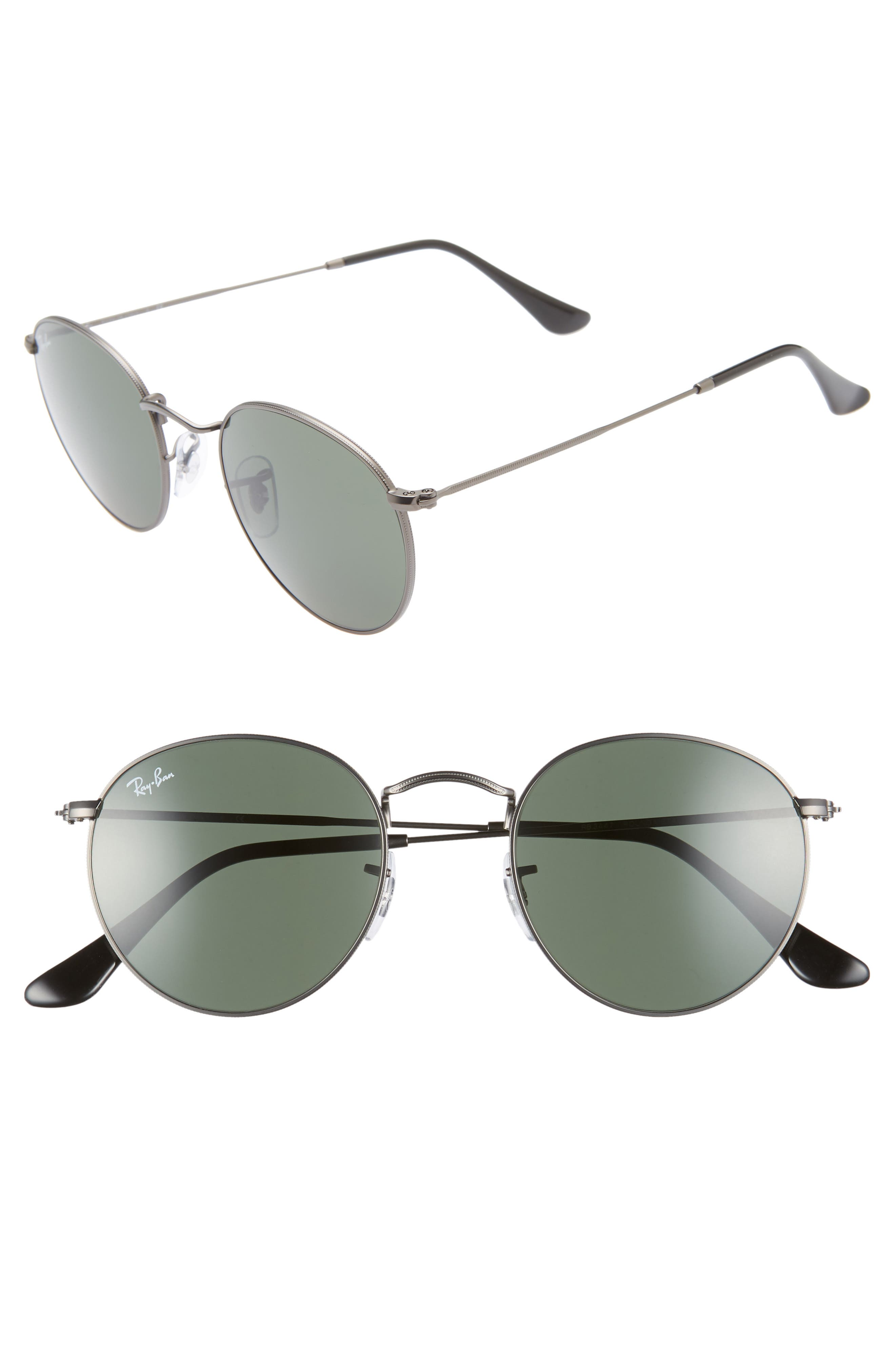 RAY-BAN, Icons 50mm Round Metal Sunglasses, Main thumbnail 1, color, GUNMETAL/ GREEN SOLID