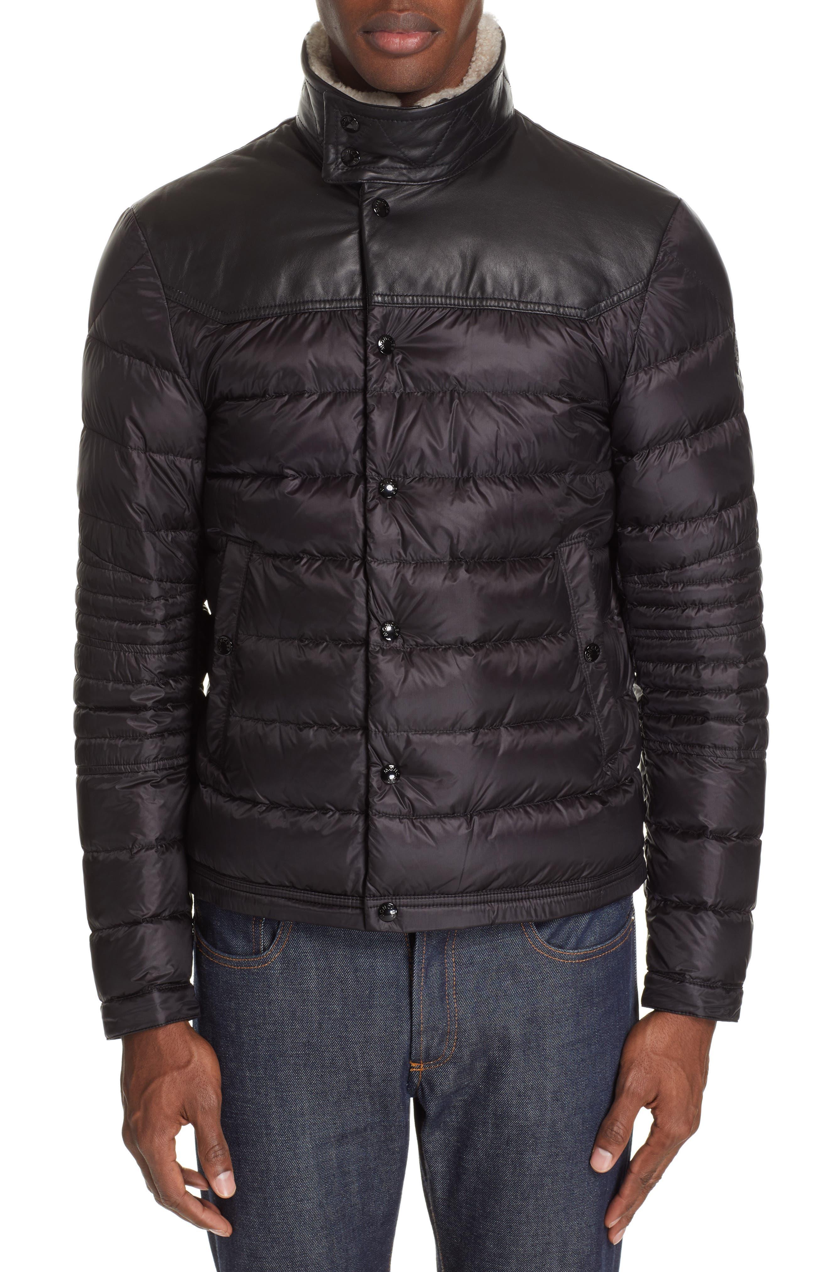 MONCLER, Vasserot Genuine Shearling Collar Jacket, Alternate thumbnail 5, color, BLACK
