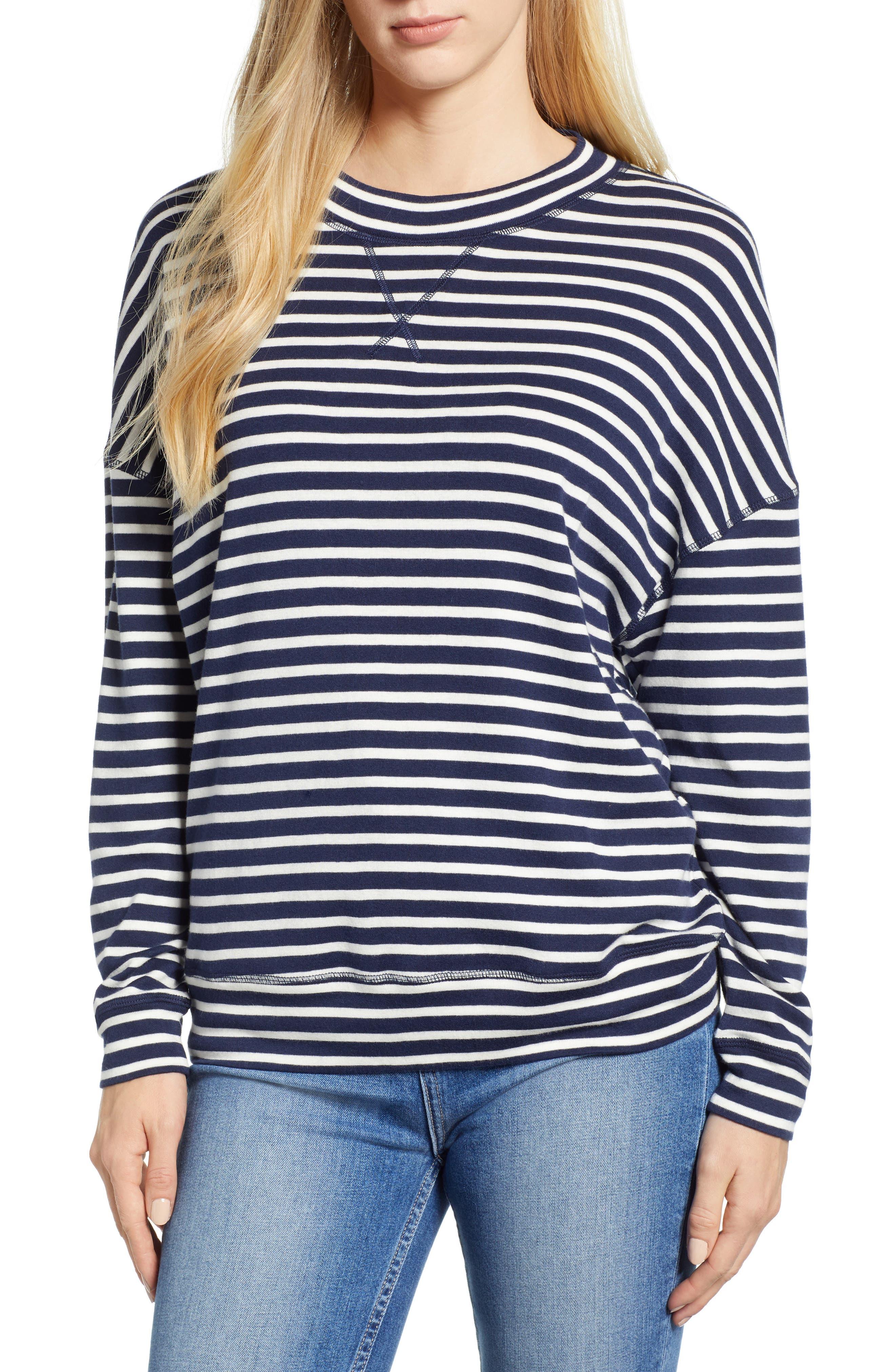 CASLON<SUP>®</SUP> Sweatshirt, Main, color, NAVY/ IVORY KATINKA STRIPE