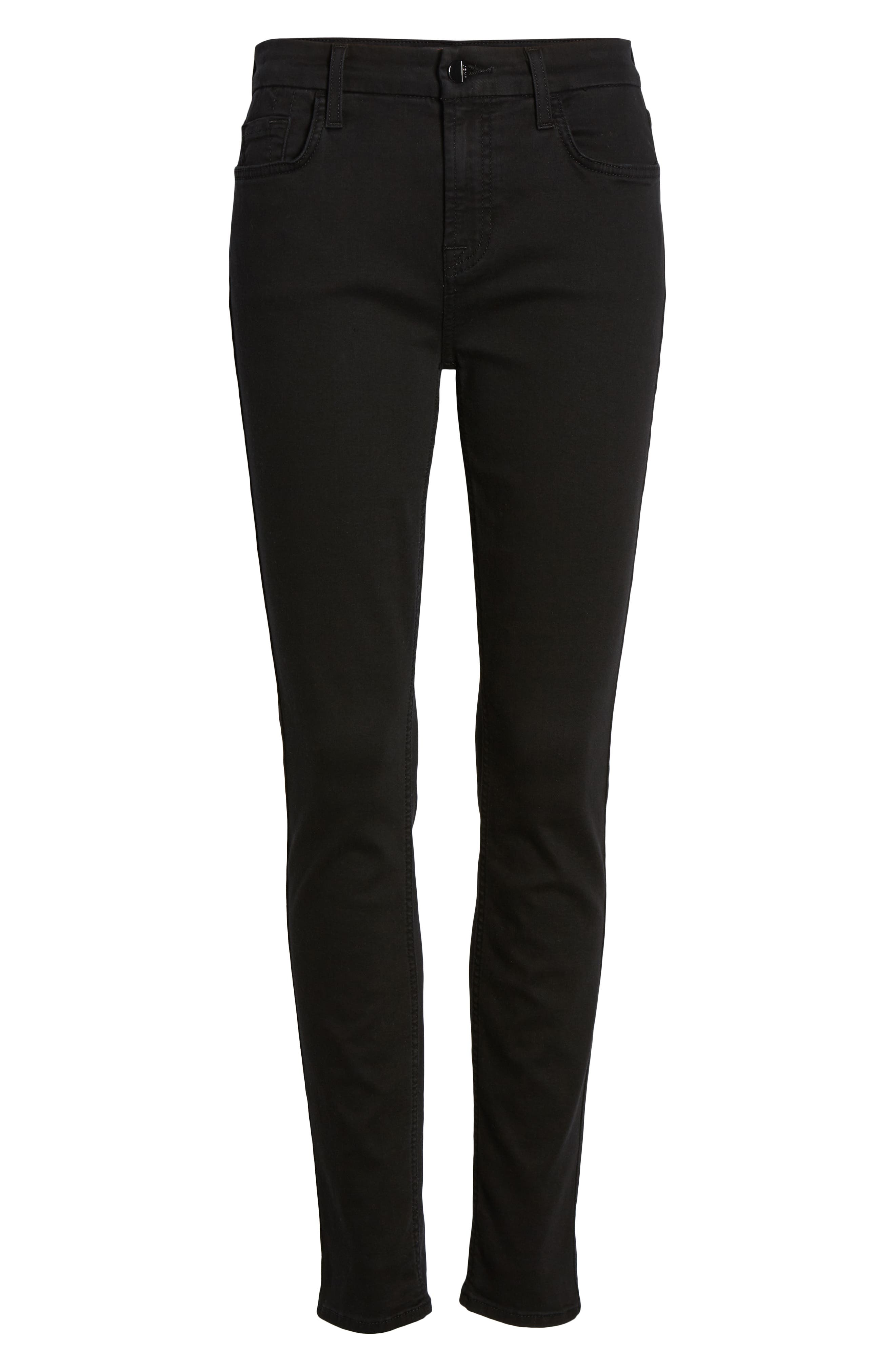 JEN7 BY 7 FOR ALL MANKIND, Skinny Jeans, Alternate thumbnail 7, color, CLASSIC BLACK NOIR