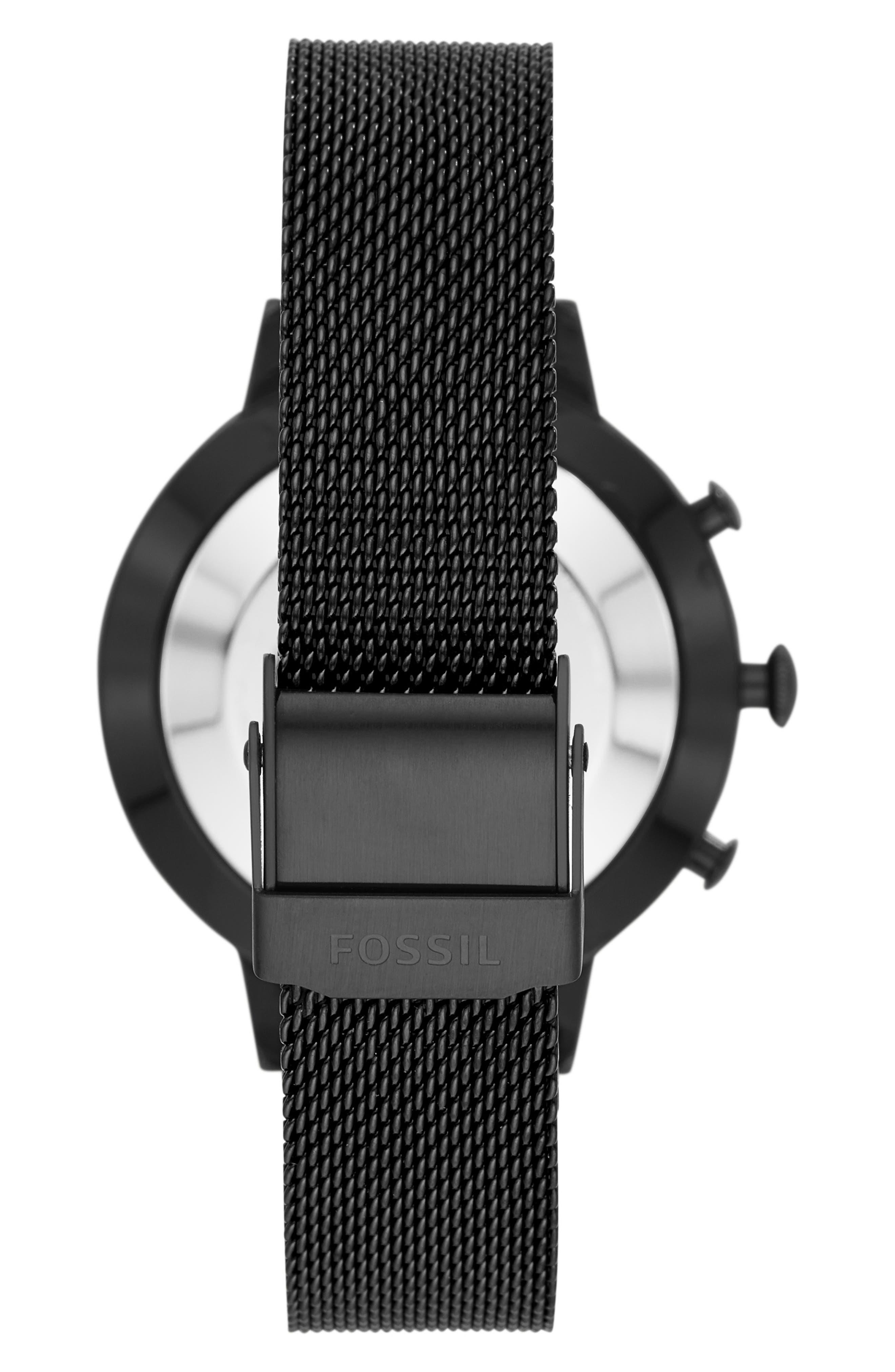 FOSSIL Q, Jacqueline Mesh Strap Hybrid Smart Watch, 36mm, Alternate thumbnail 2, color, BLACK/ ROSE GOLD