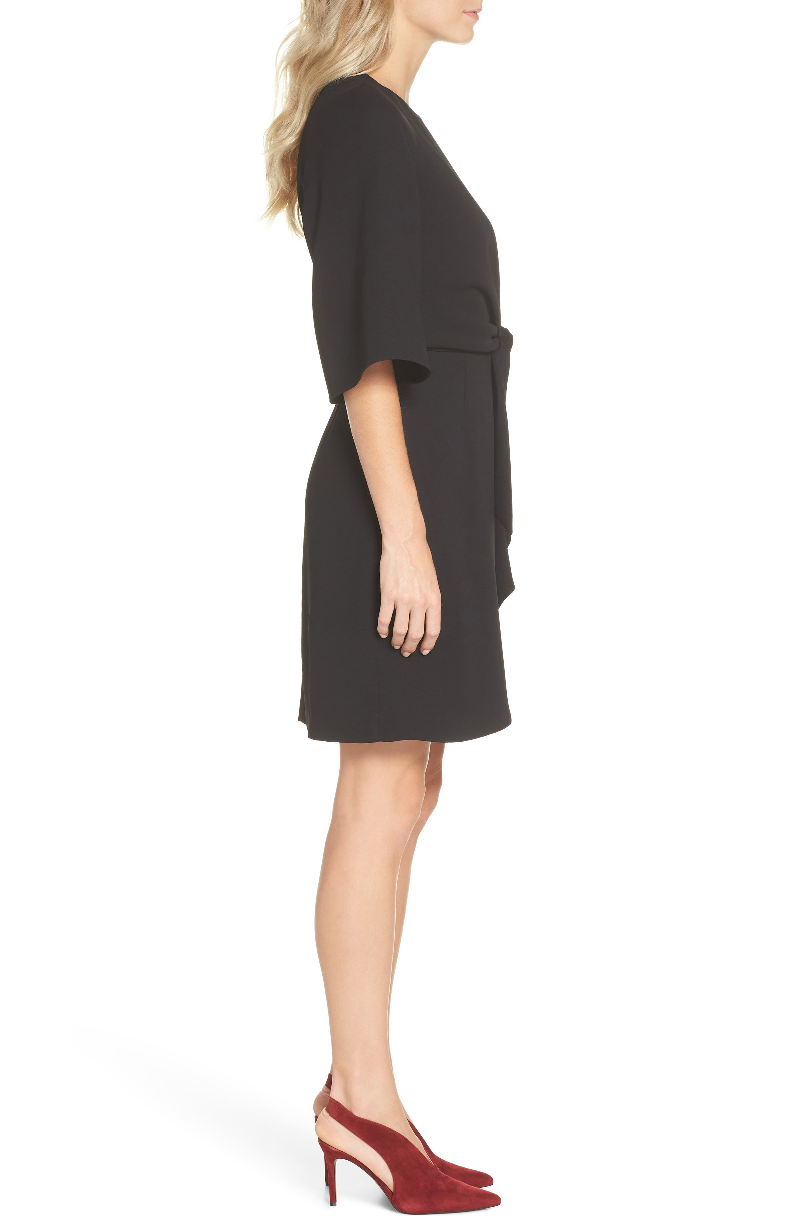 TAHARI, Tie Front Crepe Sheath Dress, Alternate thumbnail 4, color, BLACK