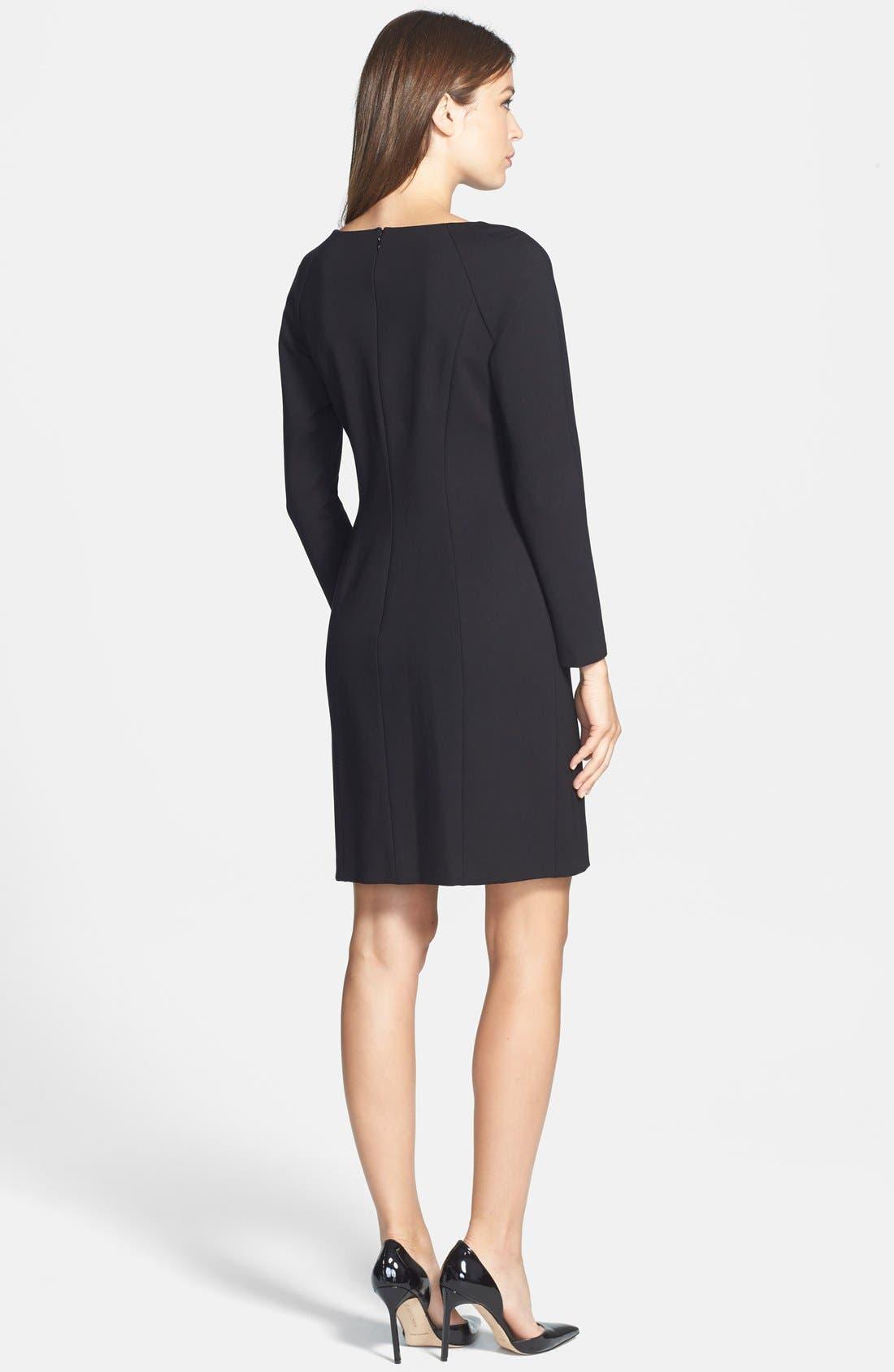 TAHARI, Pleat Detail Long Sleeve Ponte Sheath Dress, Alternate thumbnail 2, color, 001