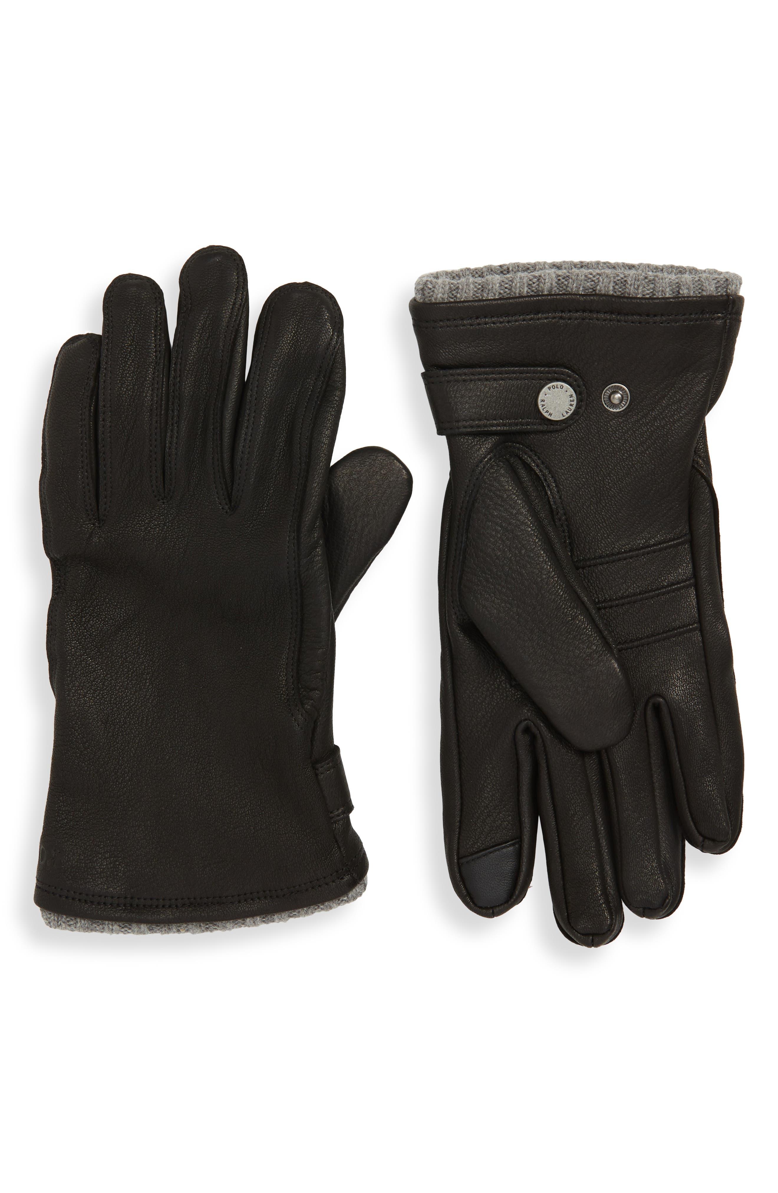 POLO RALPH LAUREN, Deerskin Gloves, Main thumbnail 1, color, BLACK