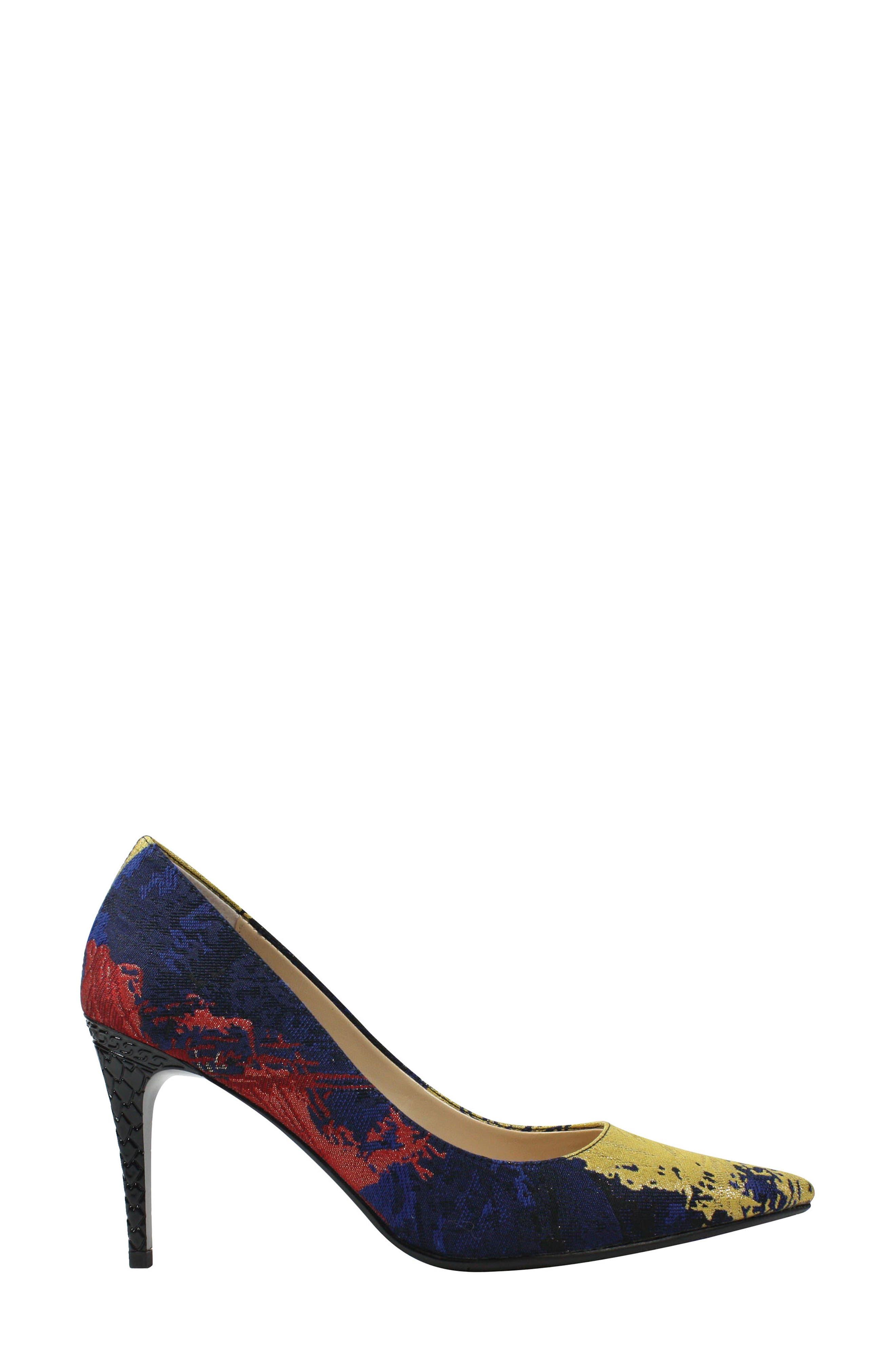 J. RENEÉ, 'Maressa' Pointy Toe Pump, Alternate thumbnail 3, color, BLUE/ BLACK MULTI