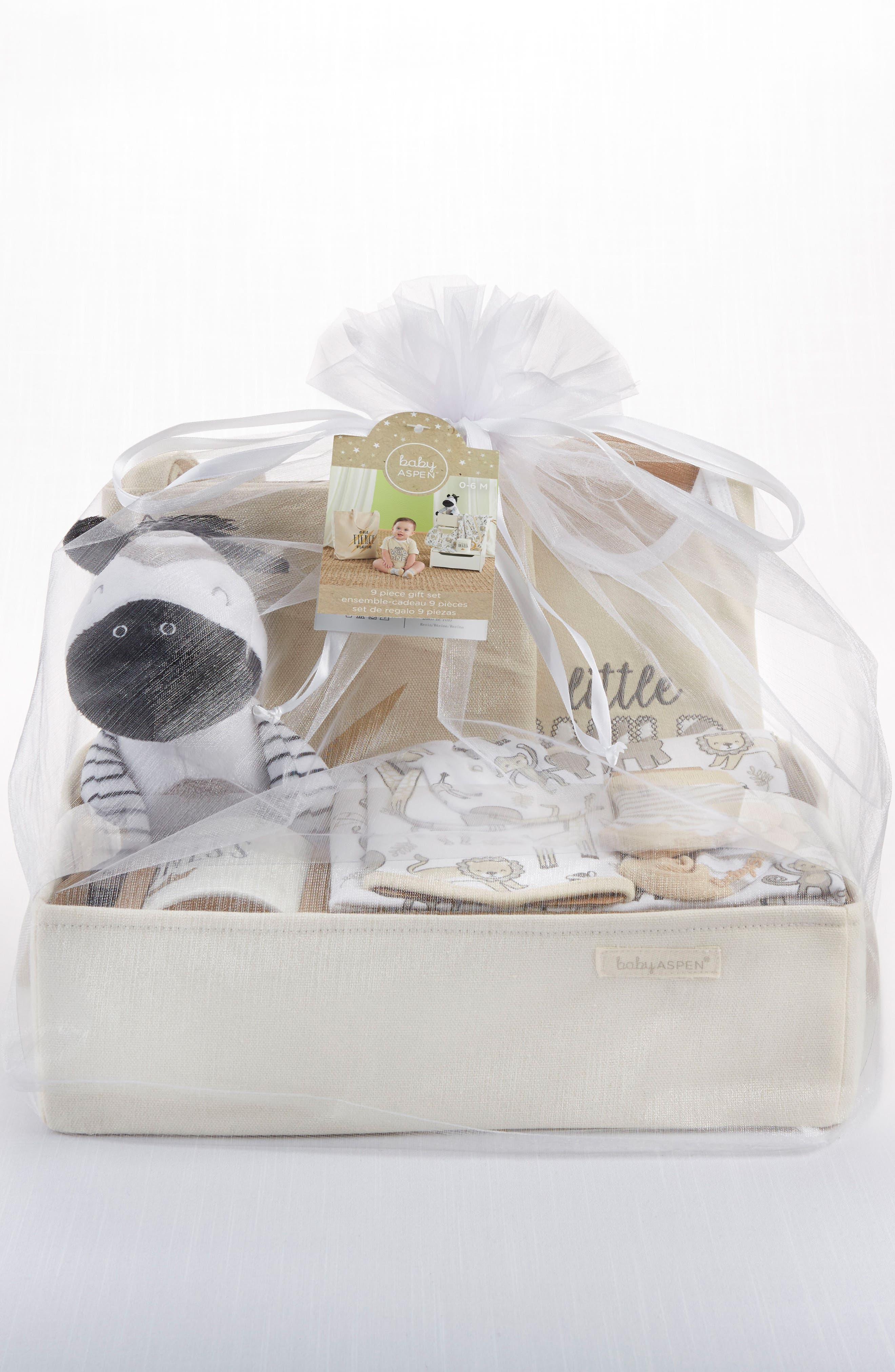 BABY ASPEN, Safari 9-Piece Baby Gift Set, Alternate thumbnail 2, color, BEIGE