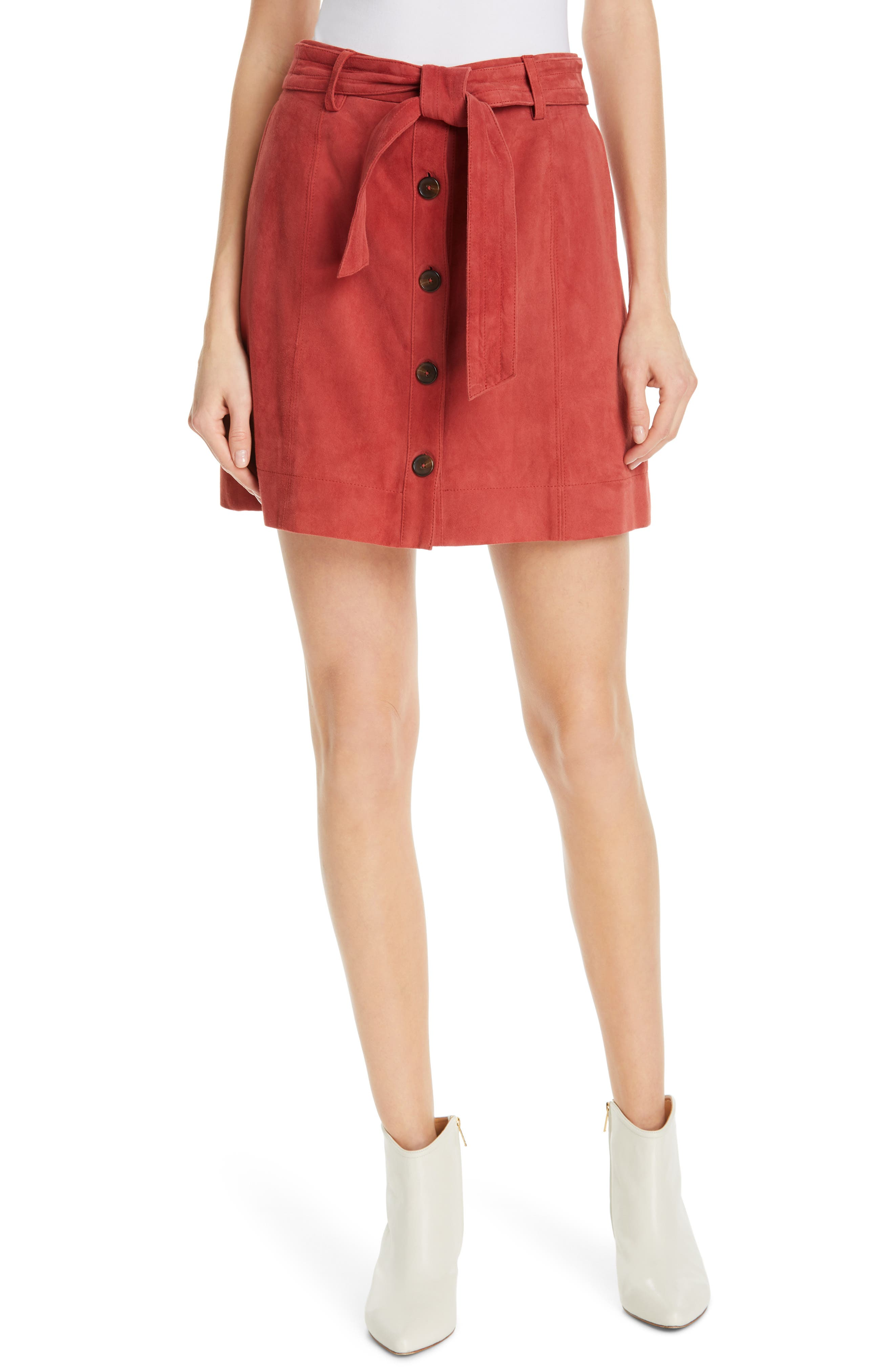 JOIE Neida Suede Miniskirt, Main, color, DESERT SPICE