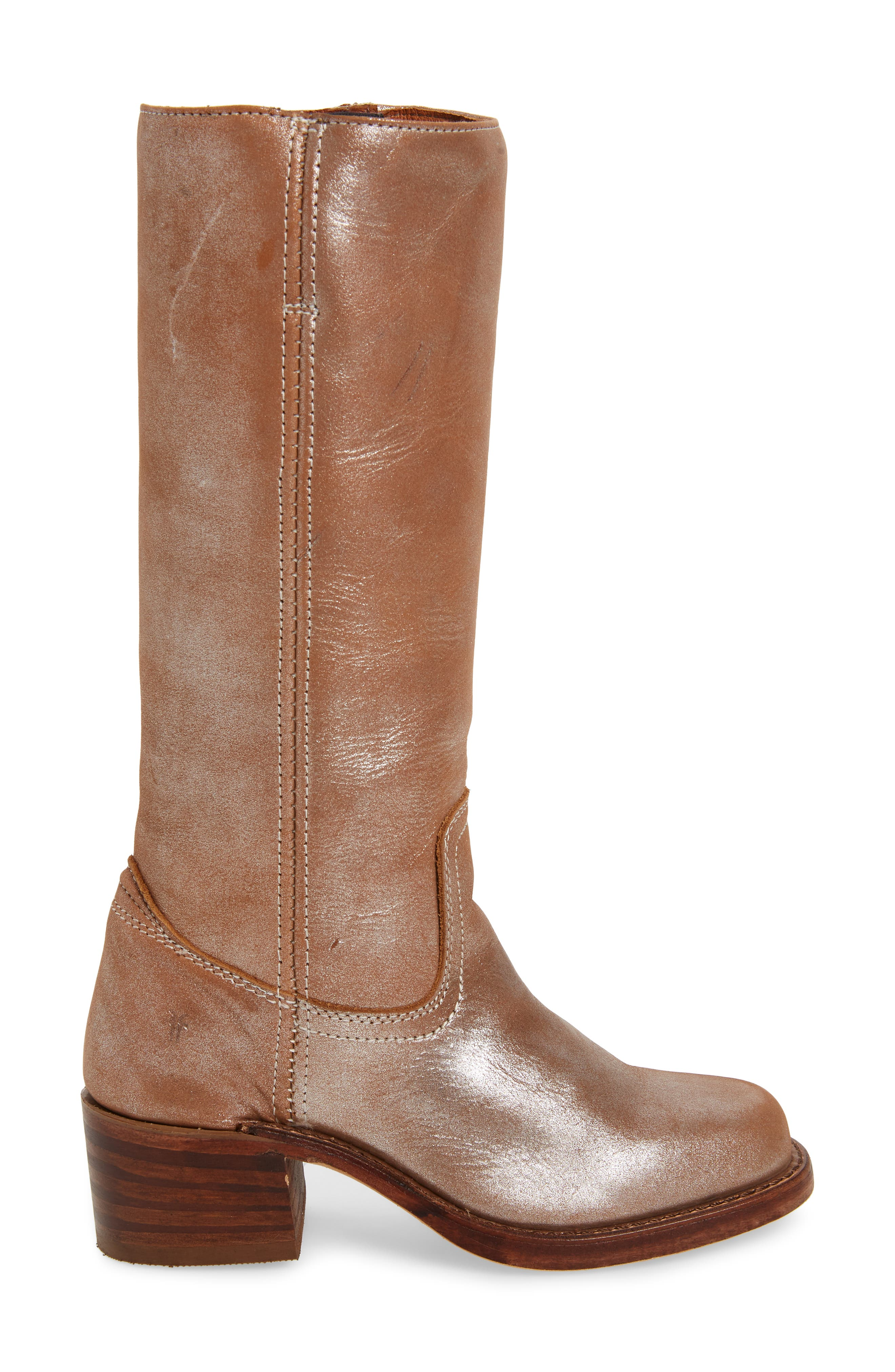 FRYE, 'Campus 14L' Boot, Alternate thumbnail 3, color, SILVER LEATHER
