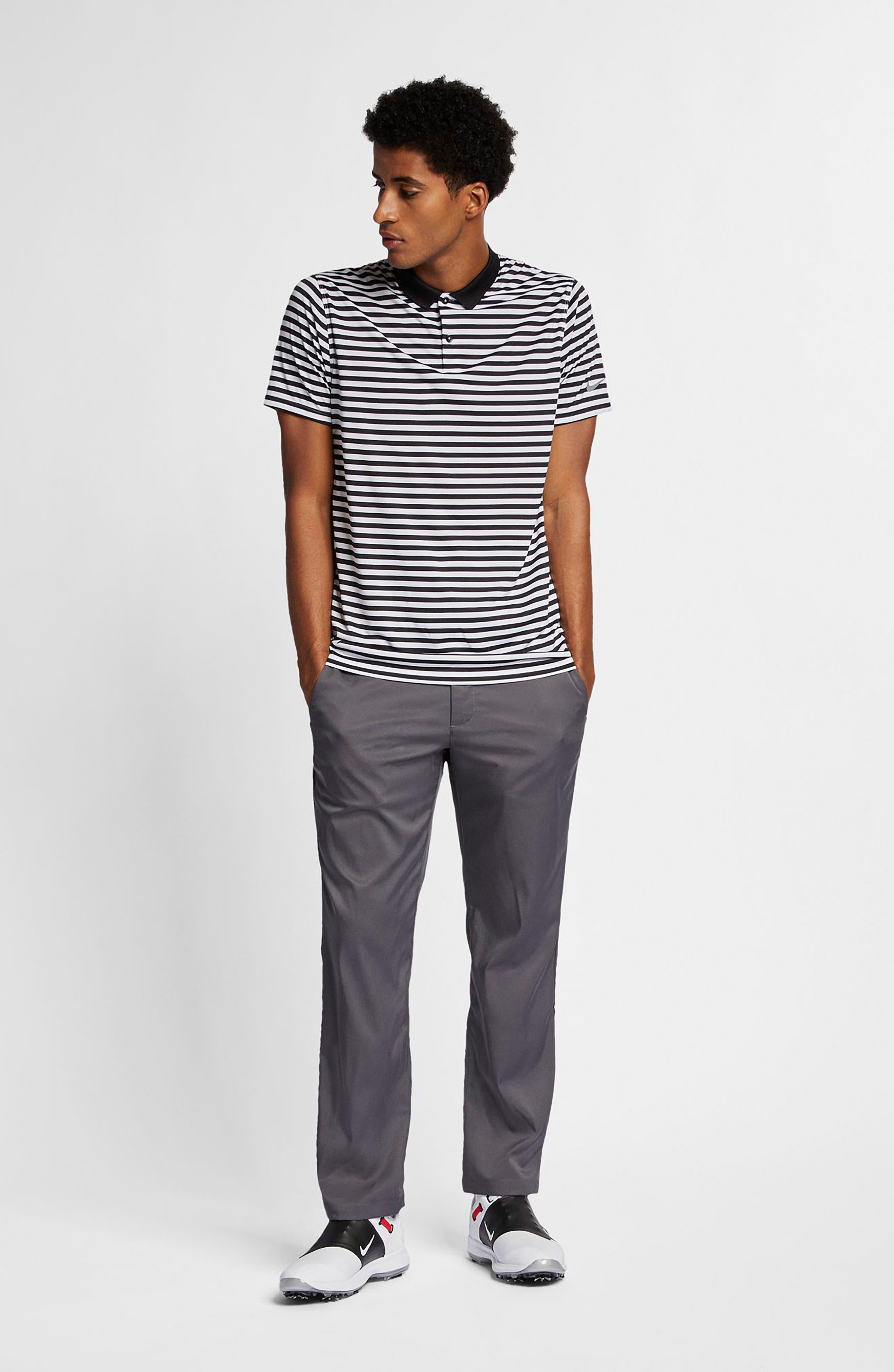 NIKE, Victory Stripe Dri-FIT Golf Polo, Alternate thumbnail 6, color, BLACK/ WHITE/COOL GREY