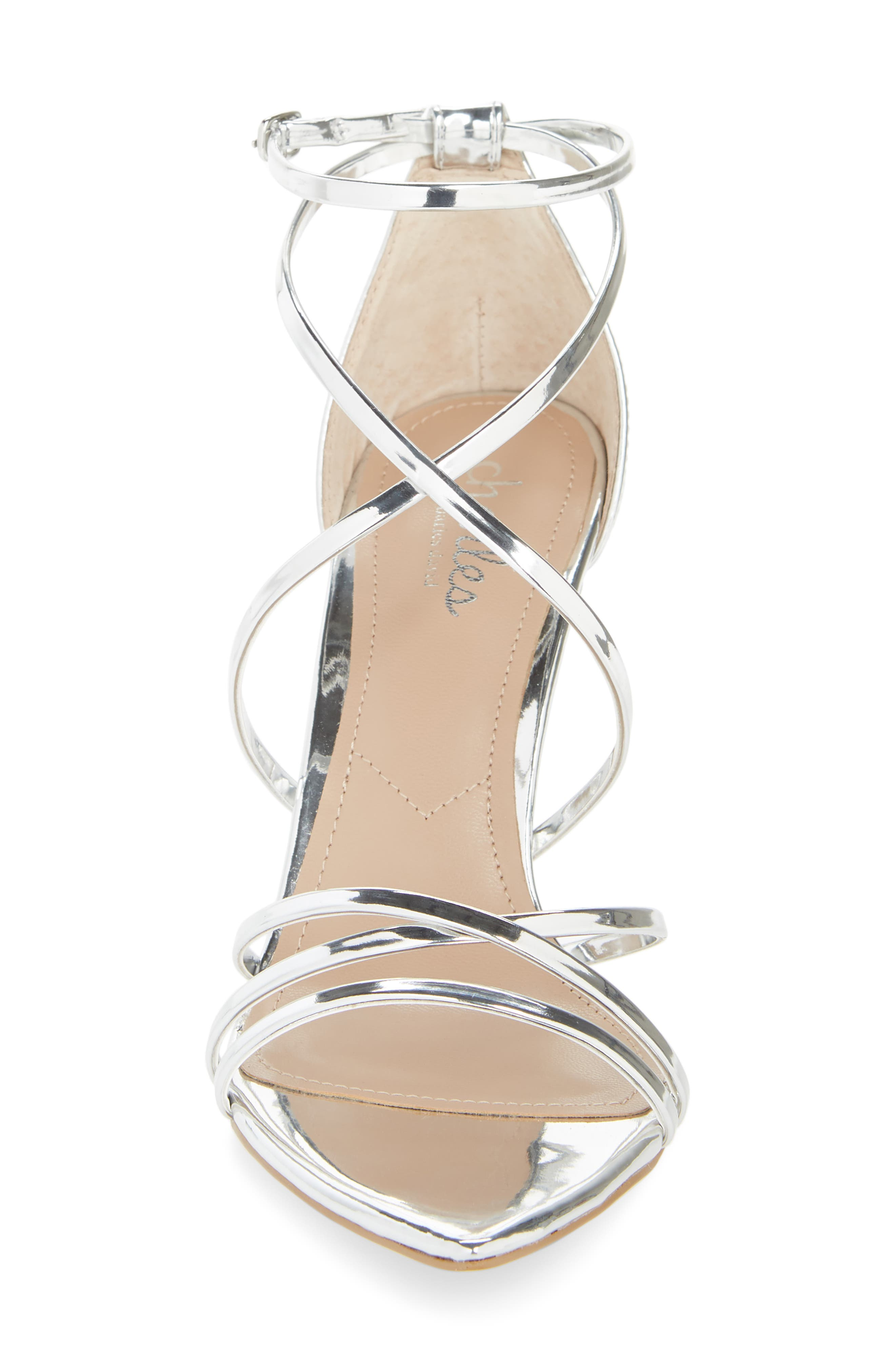 CHARLES BY CHARLES DAVID, Trickster Strappy Sandal, Alternate thumbnail 4, color, SILVER FAUX LEATHER
