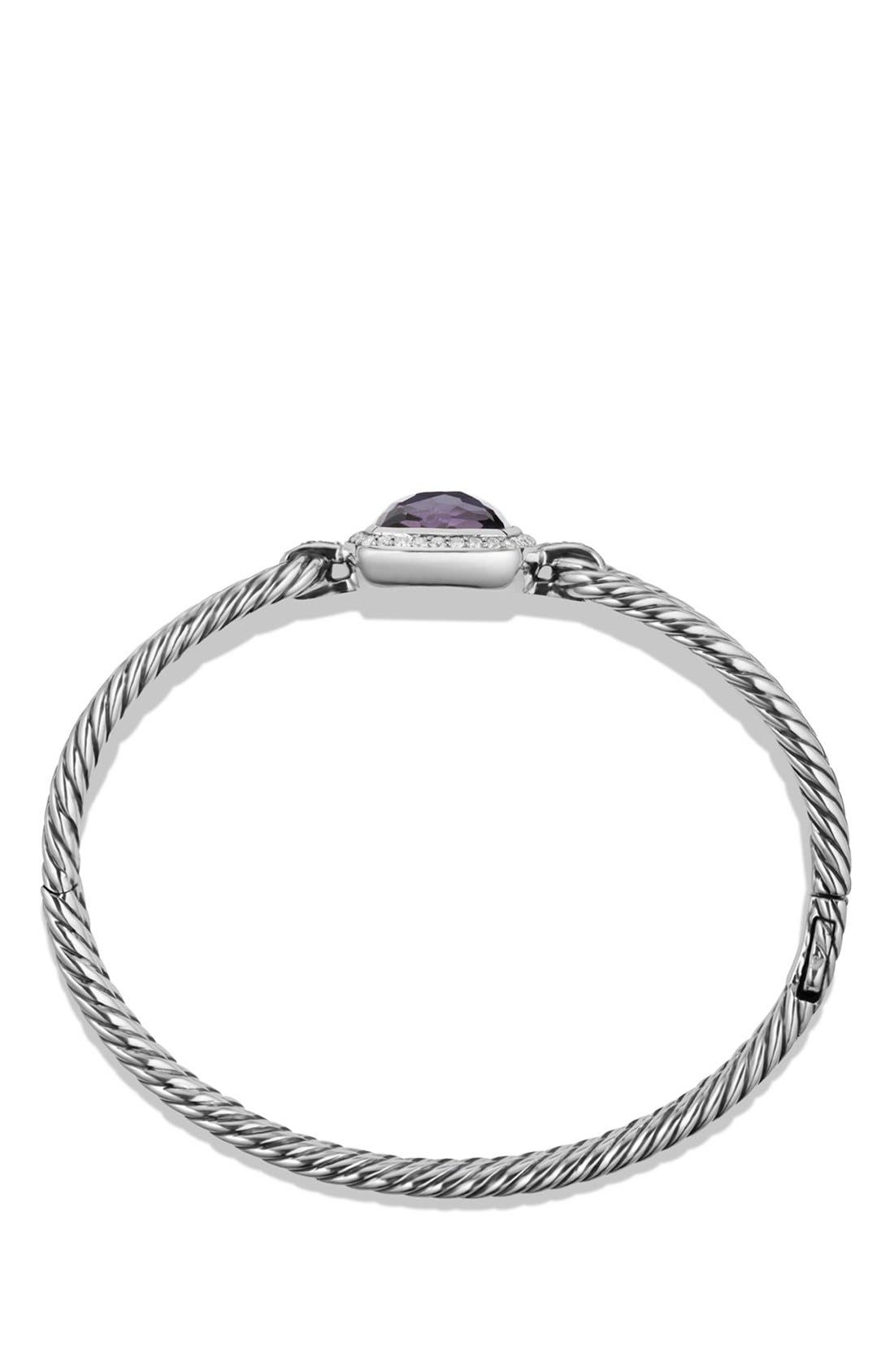 DAVID YURMAN, 'Albion' Bracelet with Semiprecious Stone and Diamonds, Alternate thumbnail 2, color, BLACK ORCHID