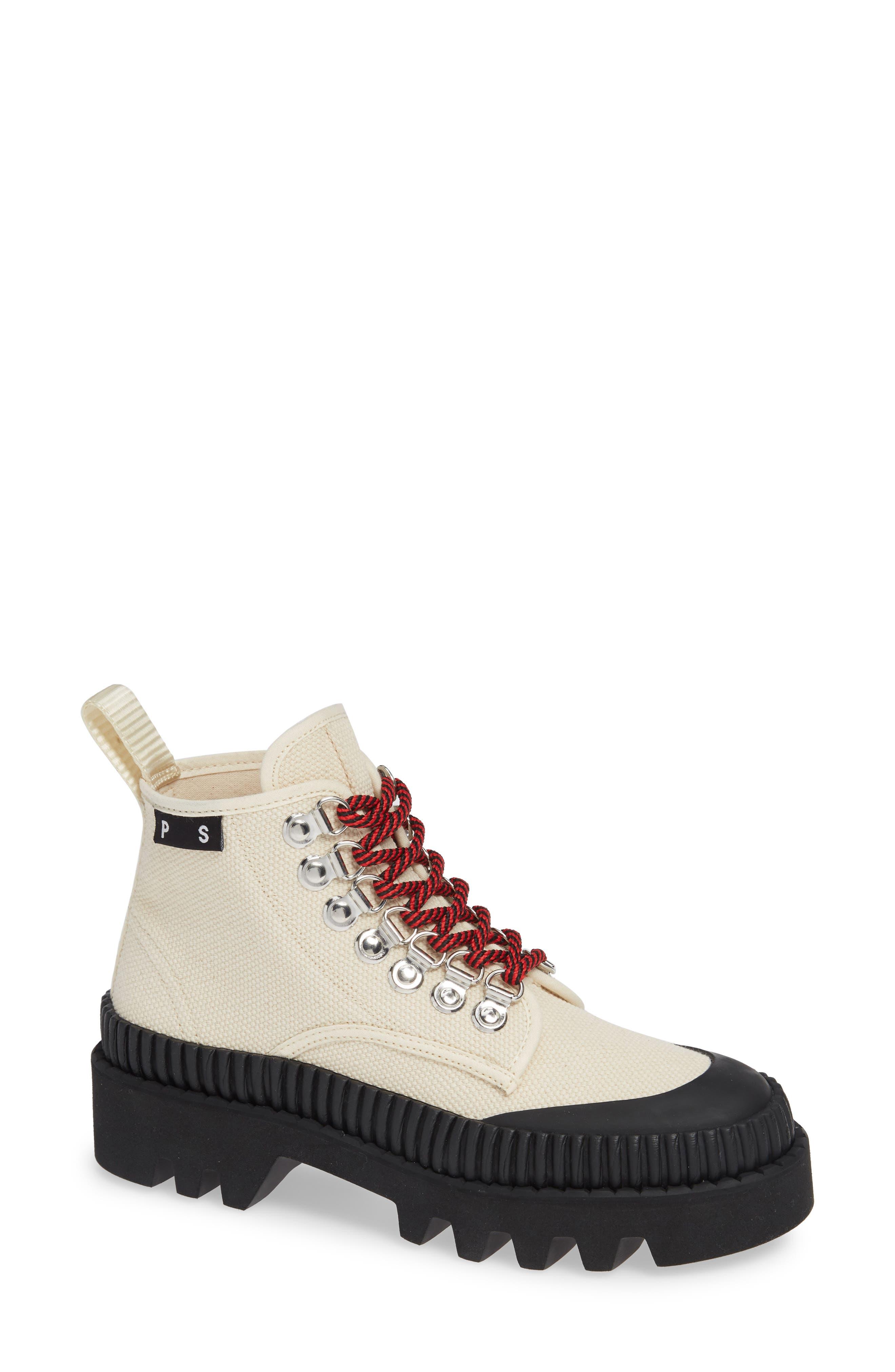PROENZA SCHOULER Hiker Boot, Main, color, ECRU/ BLACK