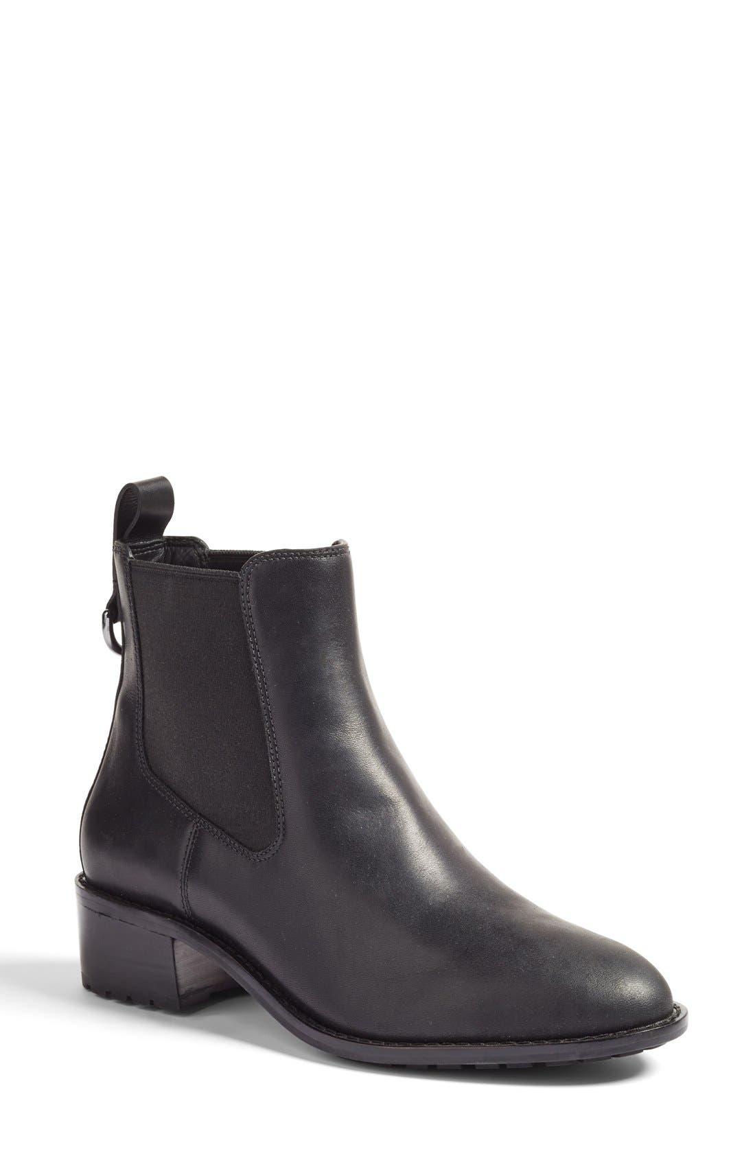 COLE HAAN, Newburg Waterproof Chelsea Boot, Main thumbnail 1, color, BLACK LEATHER