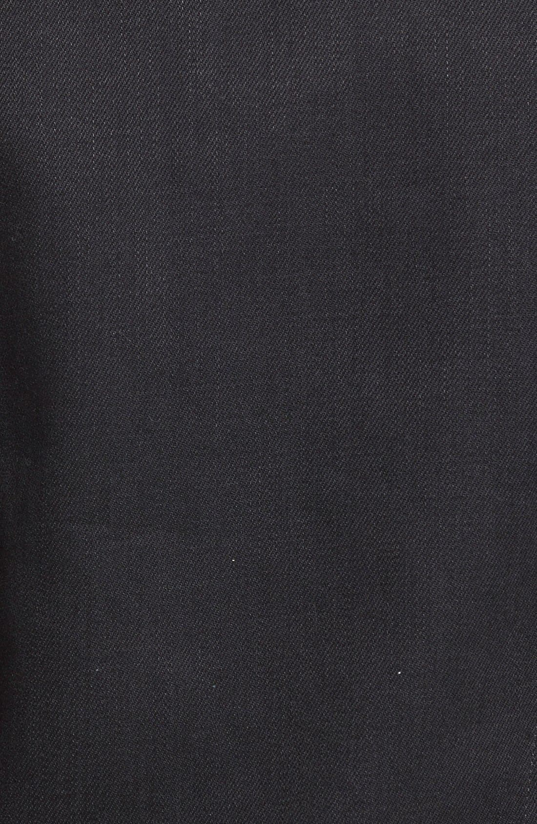 BURBERRY, Brit 'Skipper' Trim Fit Denim Jacket with Leather Collar, Alternate thumbnail 2, color, 001