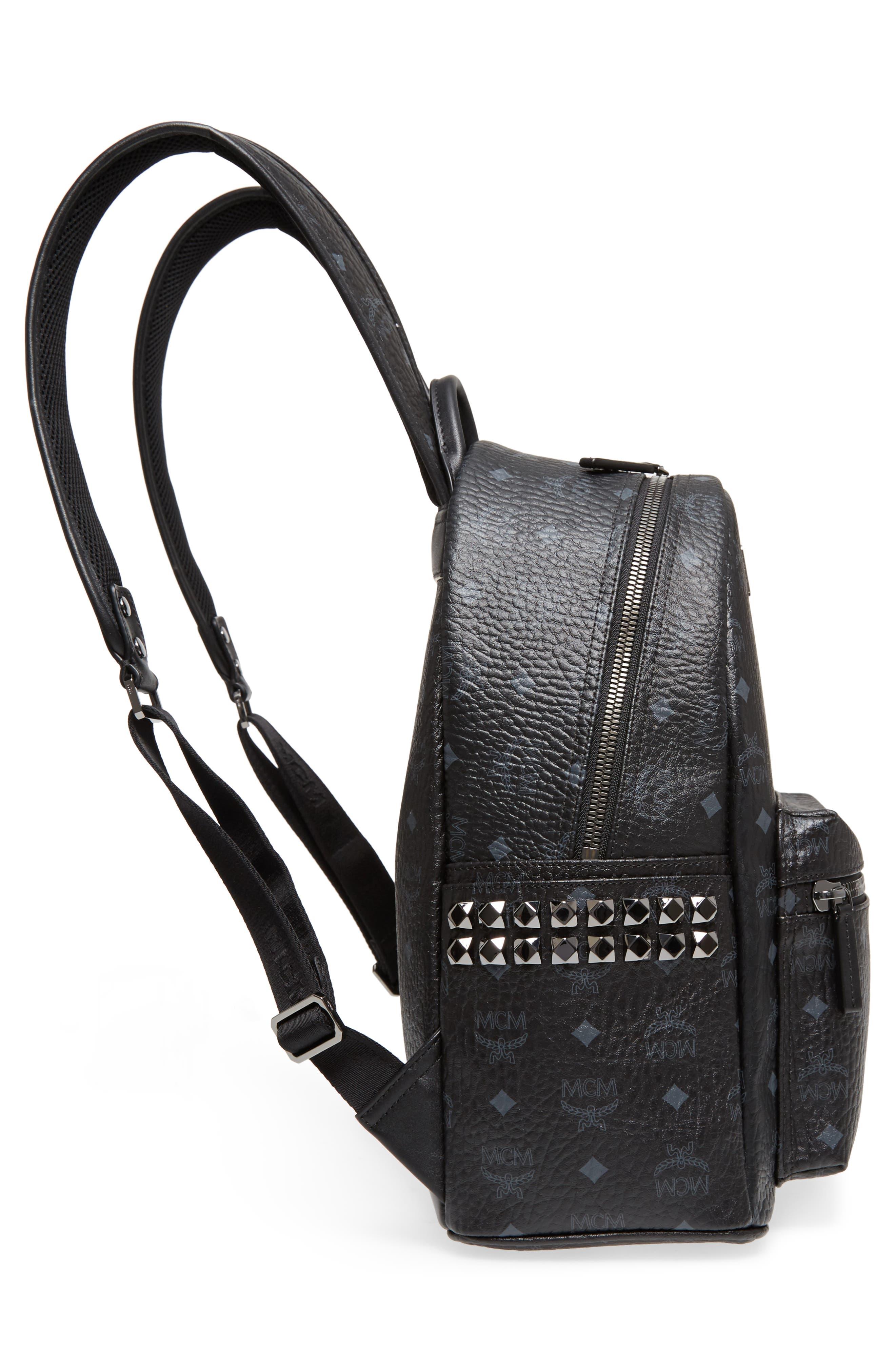 MCM, Medium Stark Side Stud Coated Canvas Backpack, Alternate thumbnail 6, color, BLACK