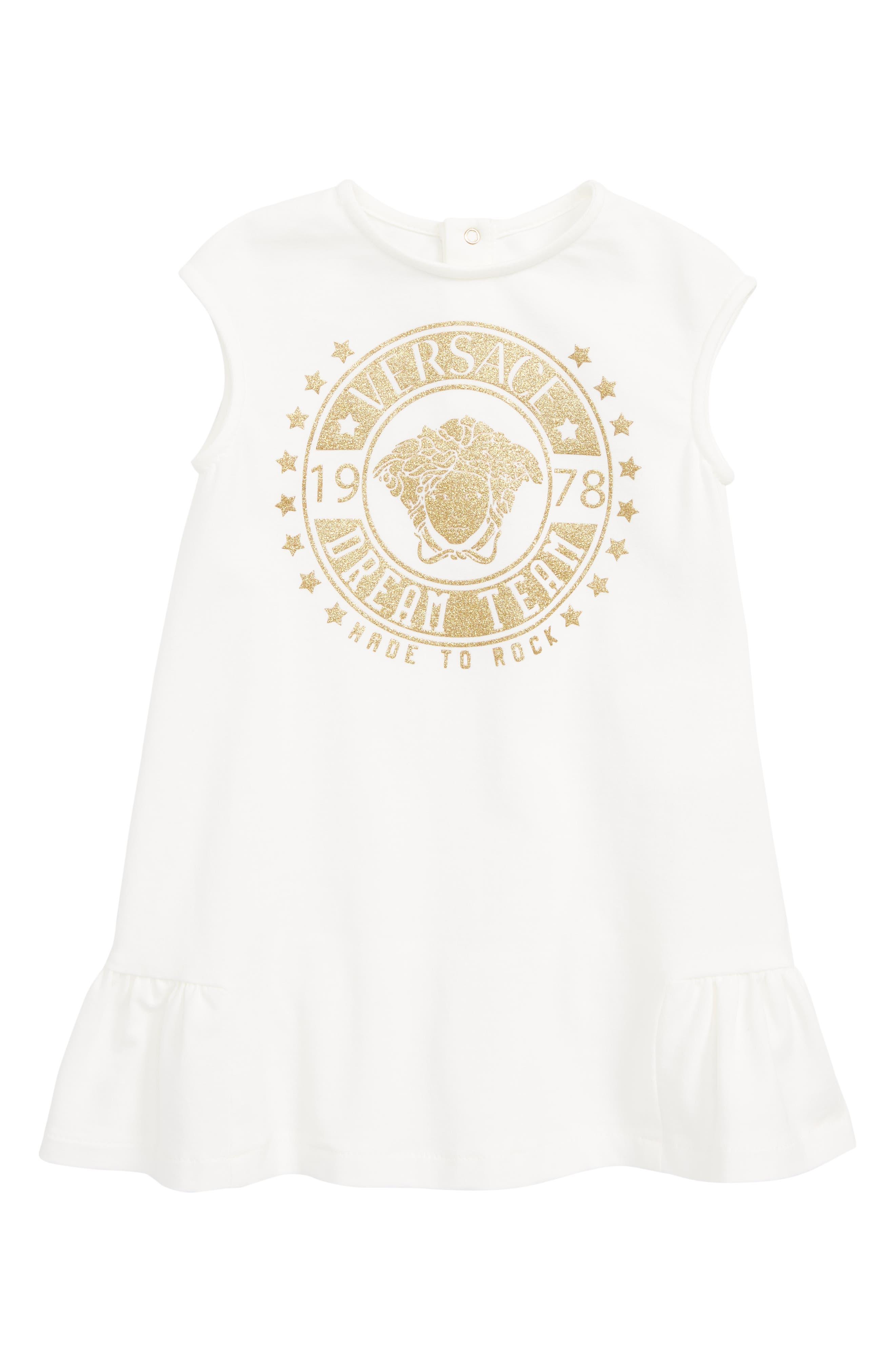 VERSACE, Logo Patch Sleeveless Dress, Main thumbnail 1, color, WHITE GOLD