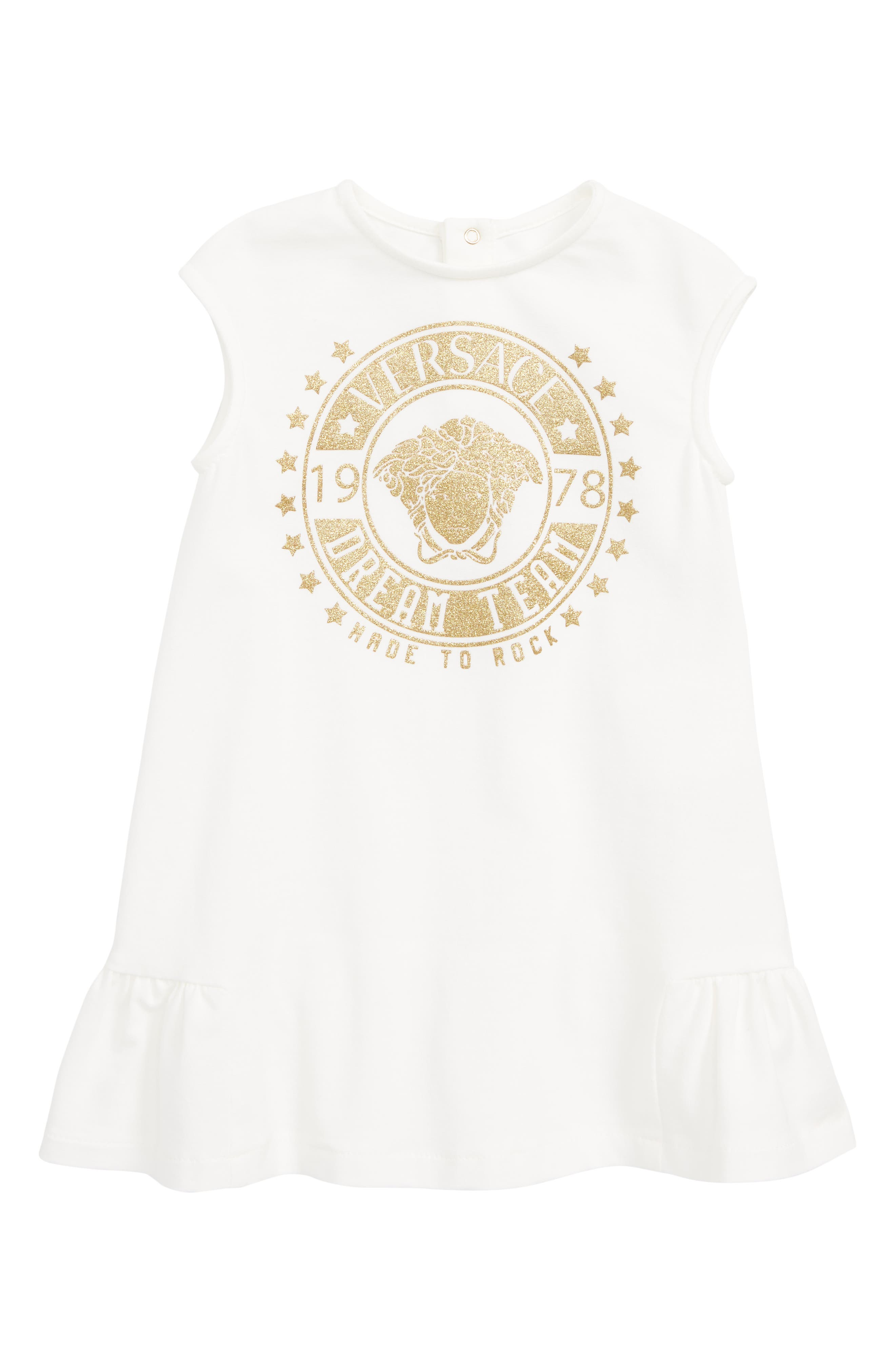 VERSACE Logo Patch Sleeveless Dress, Main, color, WHITE GOLD