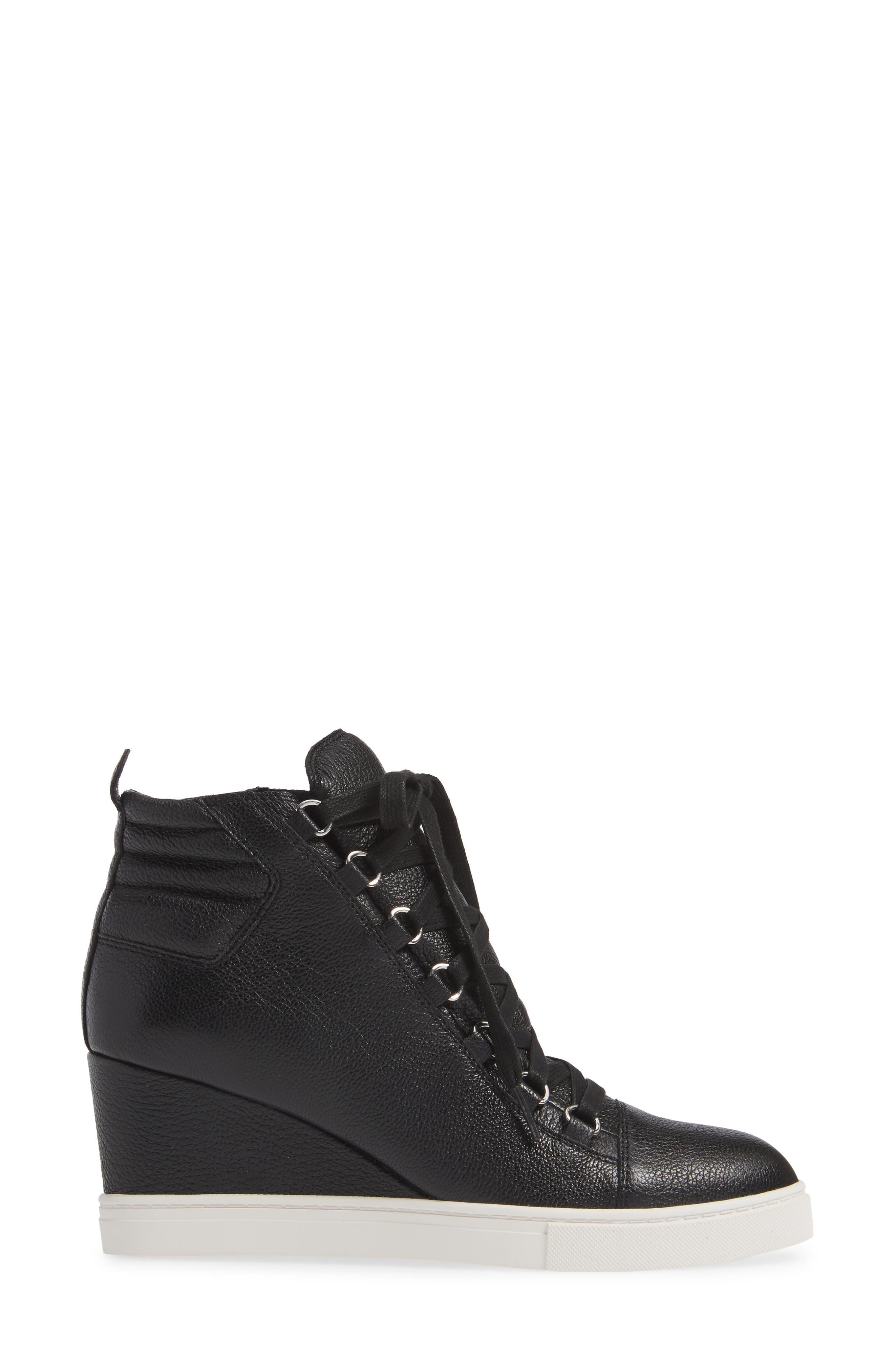 LINEA PAOLO, Fenton Wedge Sneaker, Alternate thumbnail 3, color, BLACK TUMBLED LEATHER