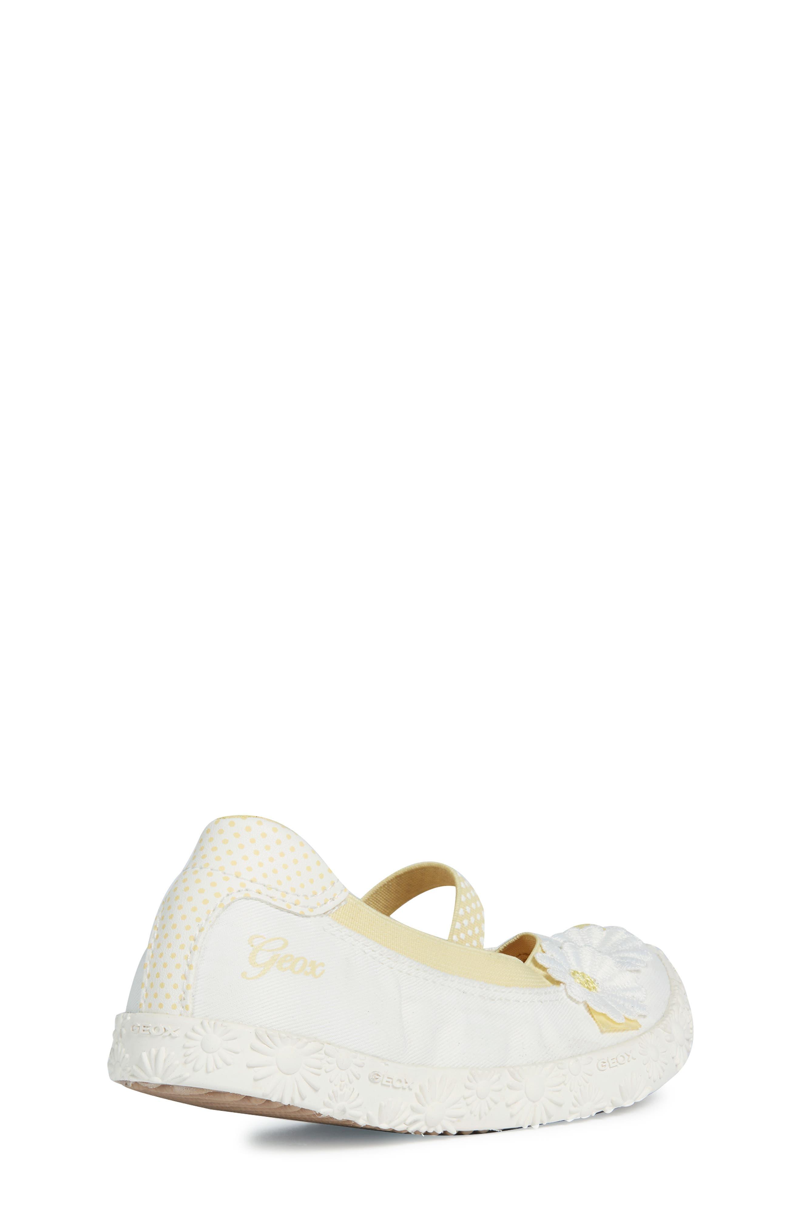 GEOX, Kilwi Daisy Mary Jane Sneaker, Alternate thumbnail 7, color, WHITE