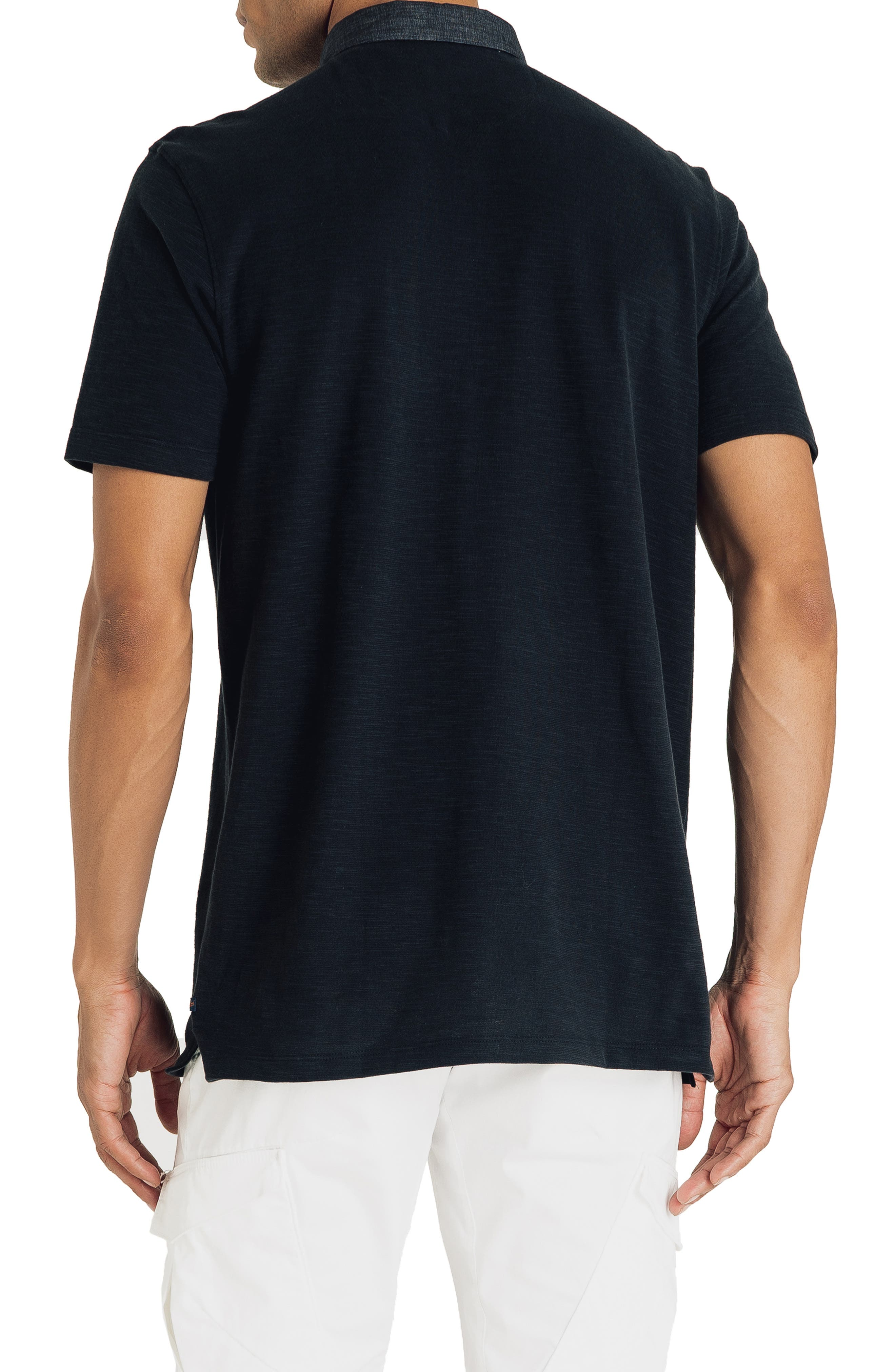 GOOD MAN BRAND, Slub Jersey Cotton Polo Shirt, Alternate thumbnail 2, color, BLACK