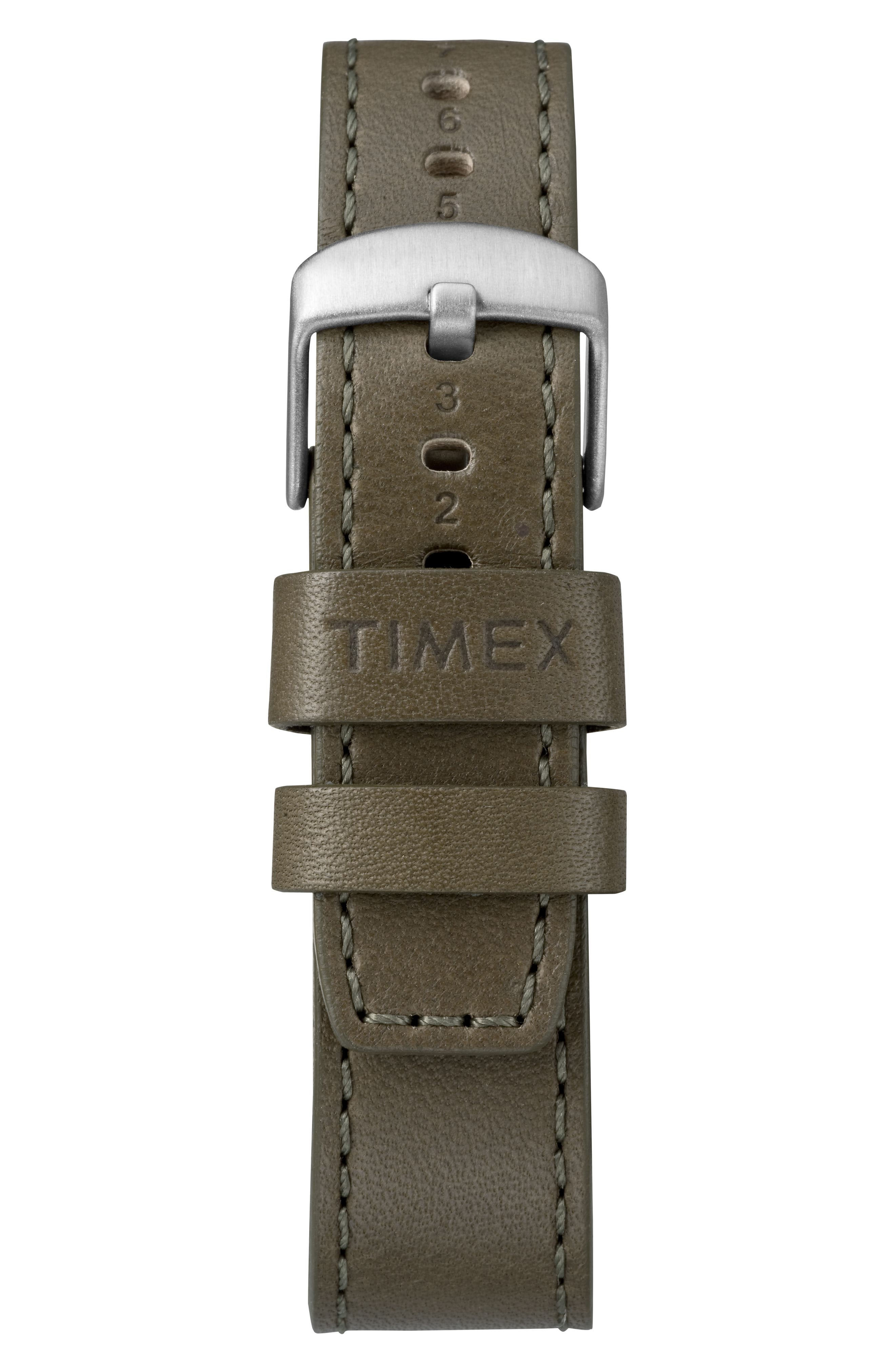TIMEX<SUP>®</SUP>, Timex Waterbury Leather Strap Watch, 40mm, Alternate thumbnail 2, color, OLIVE/ CREAM/ SILVER