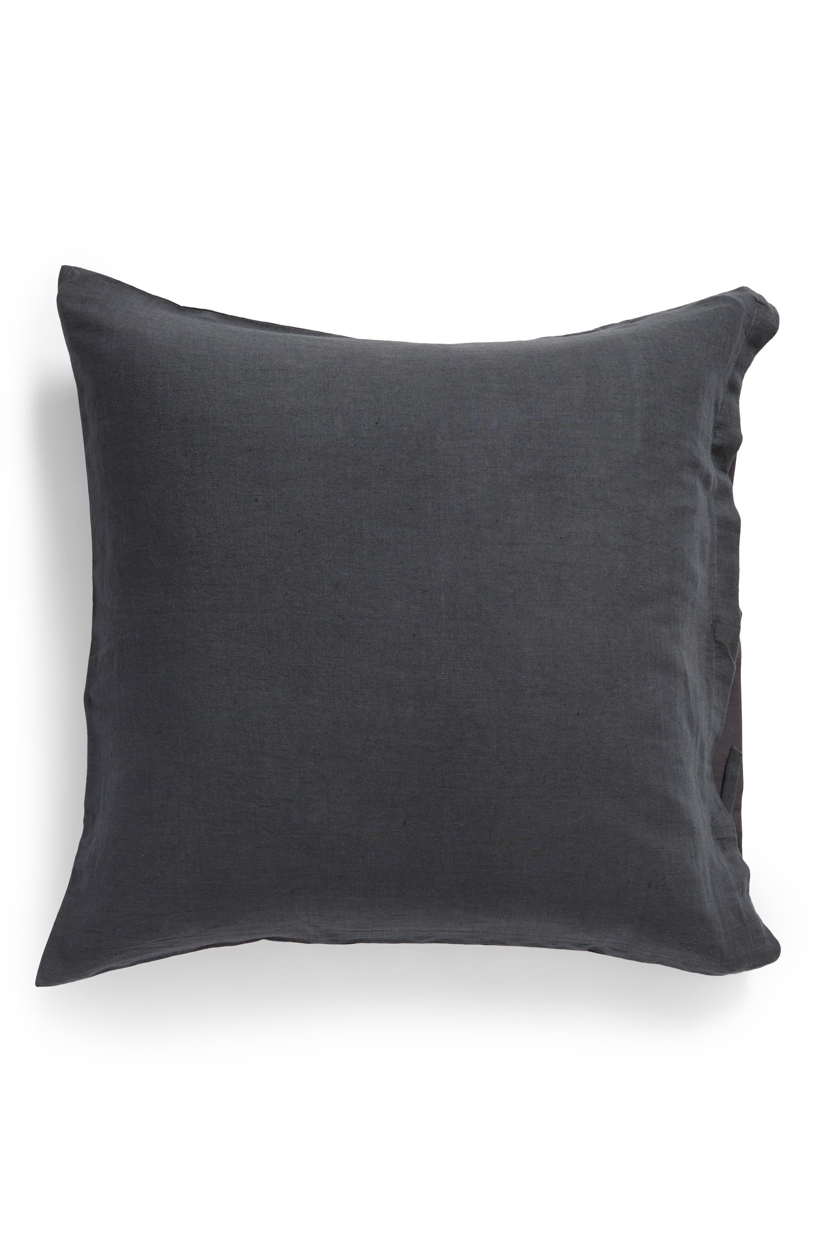 TREASURE & BOND, Relaxed Cotton & Linen Euro Sham, Main thumbnail 1, color, GREY ONYX