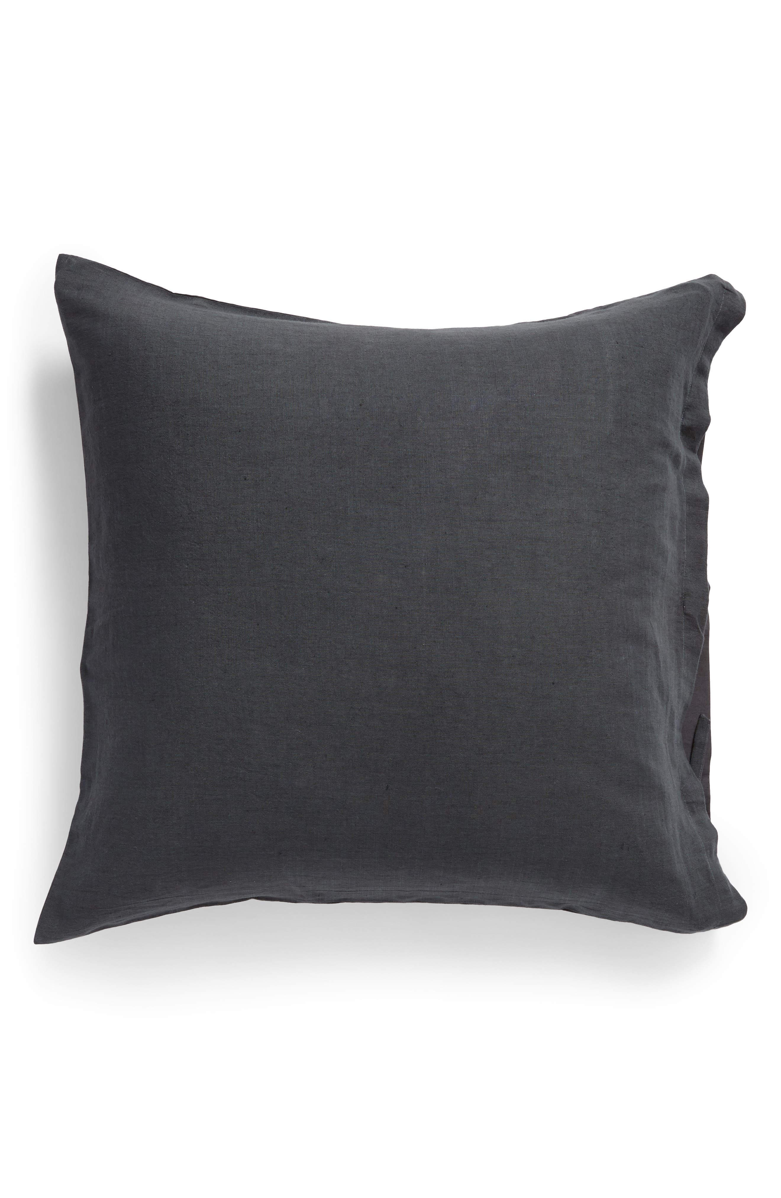 TREASURE & BOND Relaxed Cotton & Linen Euro Sham, Main, color, GREY ONYX