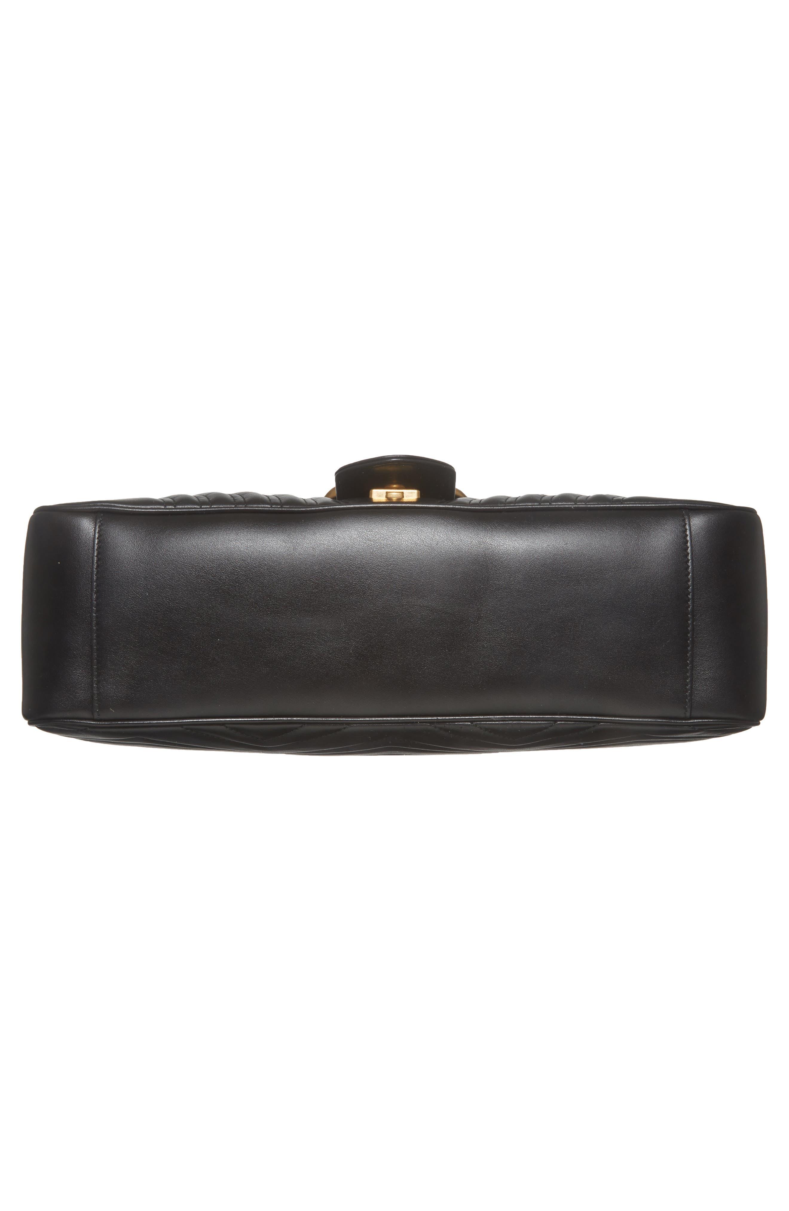 GUCCI, GG Large Marmont 2.0 Matelassé Leather Shoulder Bag, Alternate thumbnail 6, color, NERO