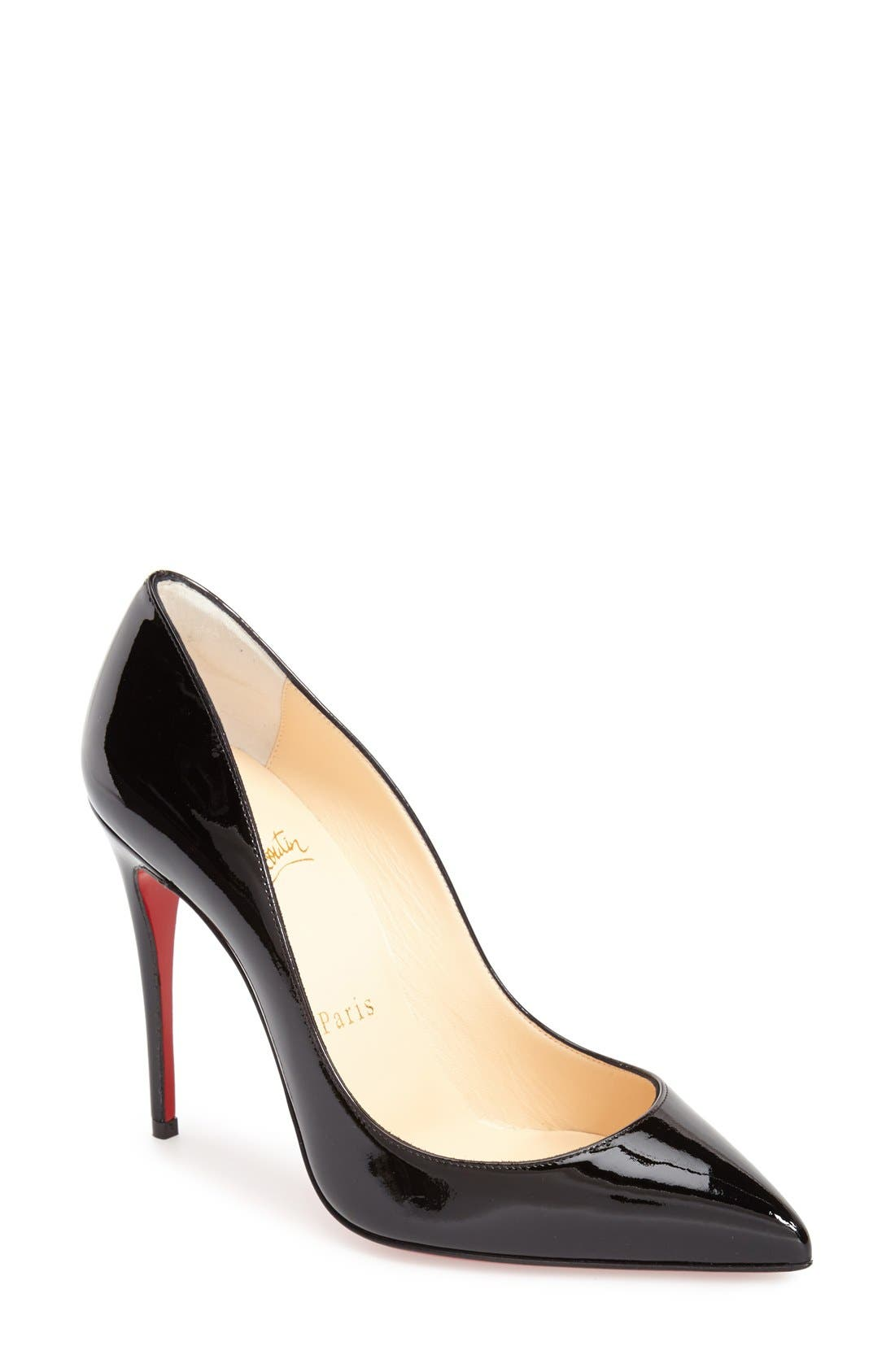 CHRISTIAN LOUBOUTIN, Pigalle Follies Pointy Toe Pump, Main thumbnail 1, color, BLACK PATENT