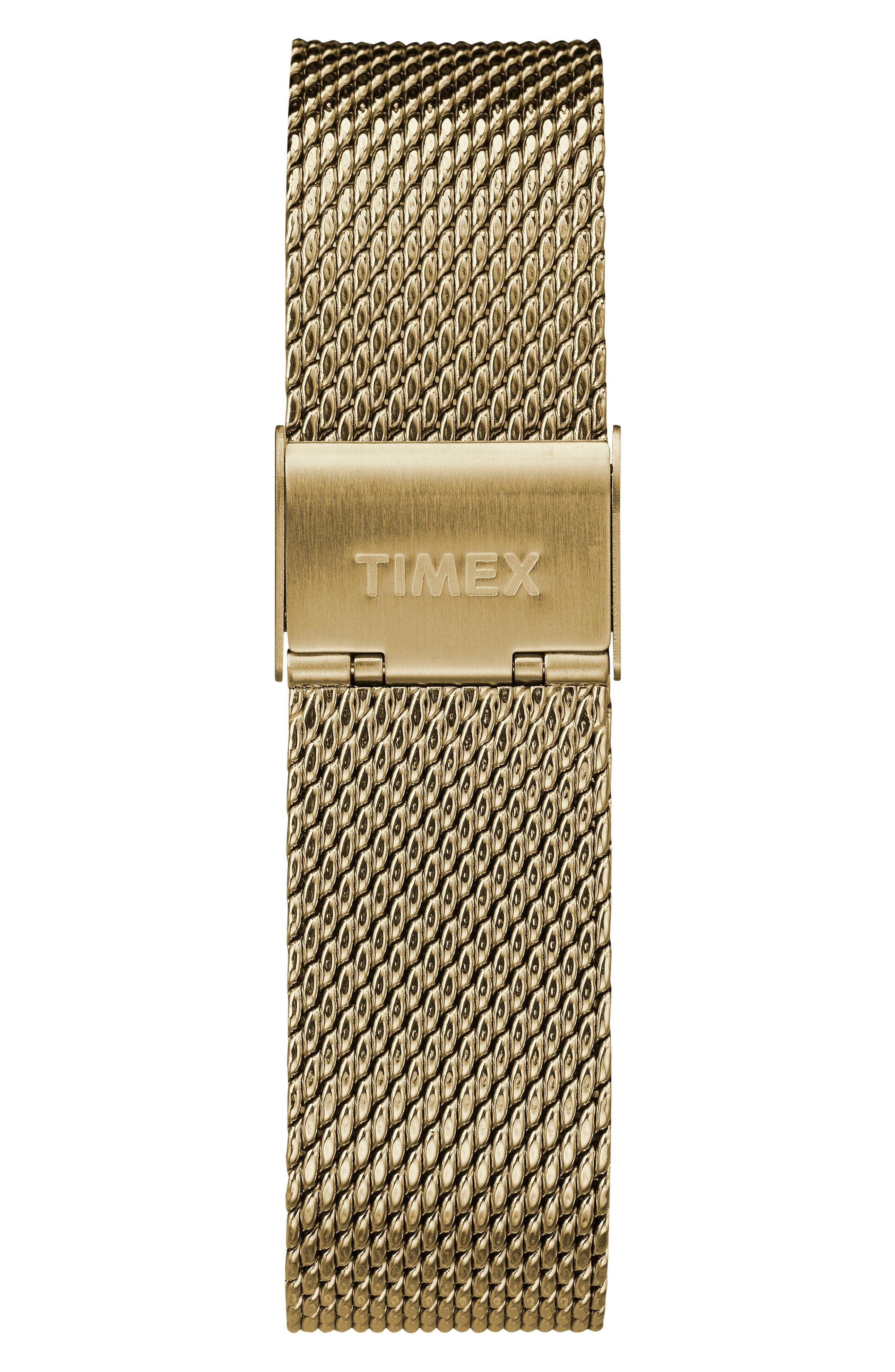 TIMEX<SUP>®</SUP>, Fairfield Chronograph Mesh Strap Watch, 41mm, Alternate thumbnail 3, color, GOLD/ WHITE/ GOLD