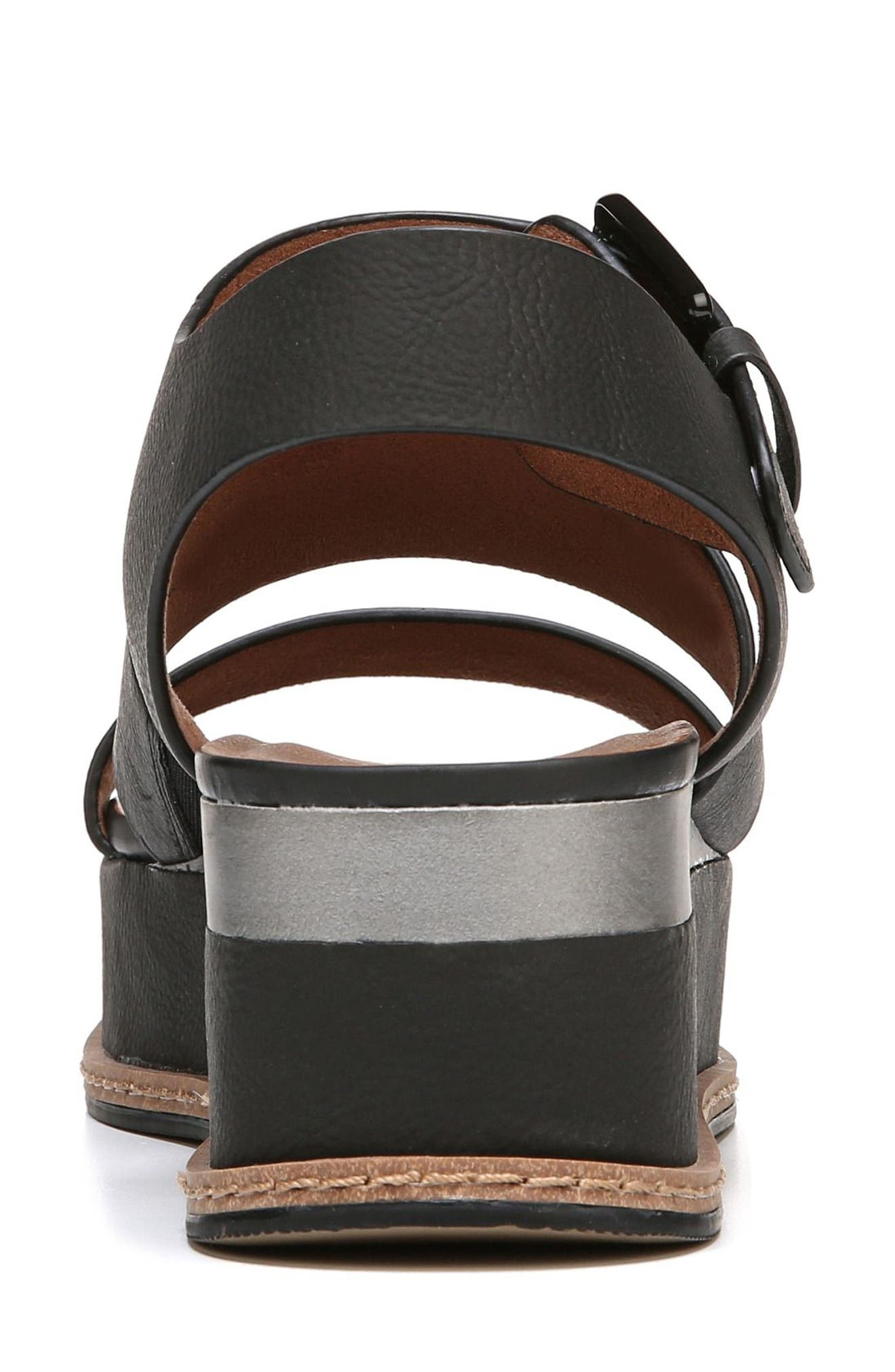 NATURALIZER, Billie Platform Sandal, Alternate thumbnail 7, color, BLACK FAUX NUBUCK LEATHER
