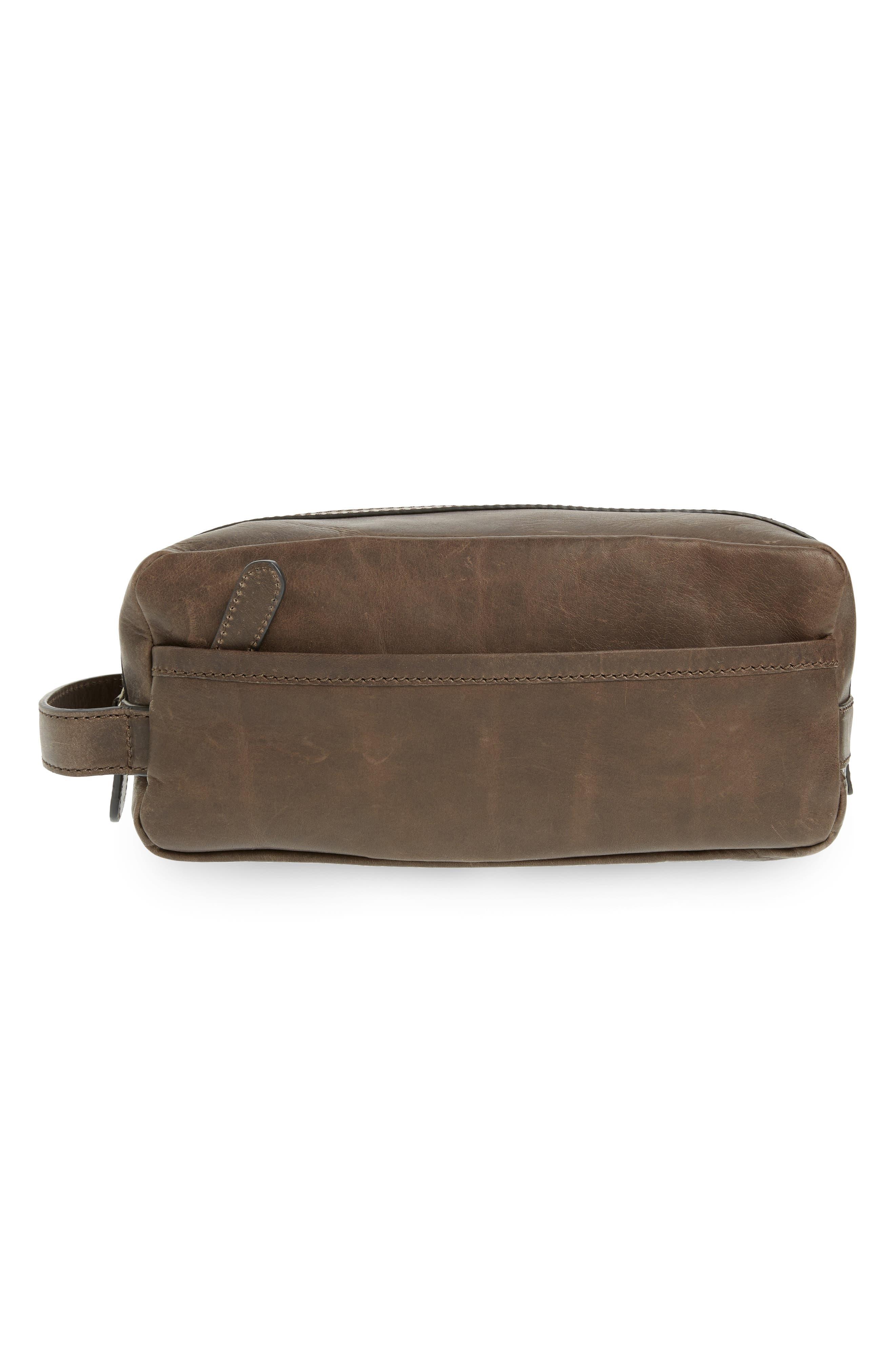 FRYE 'Logan' Leather Travel Kit, Main, color, SLATE