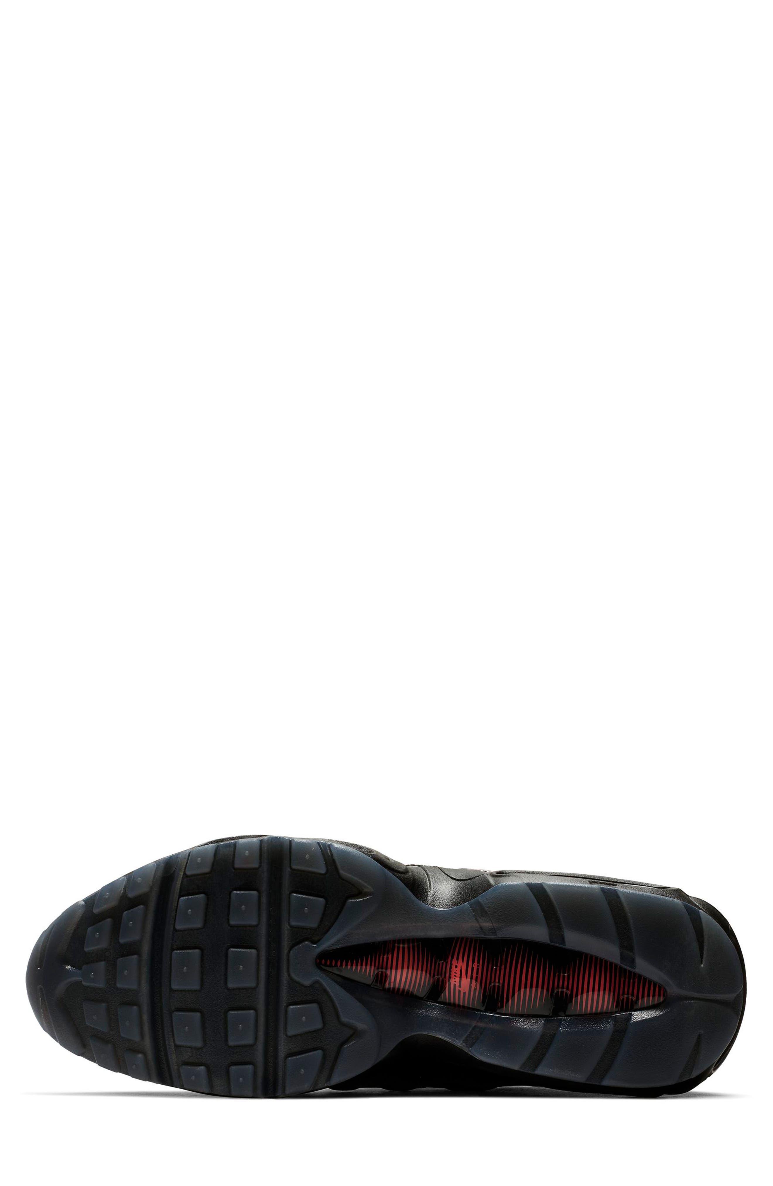 NIKE, Air Max 95 LV8 Sneaker, Alternate thumbnail 5, color, BLACK/ EMBER GLOW/ DARK GREY
