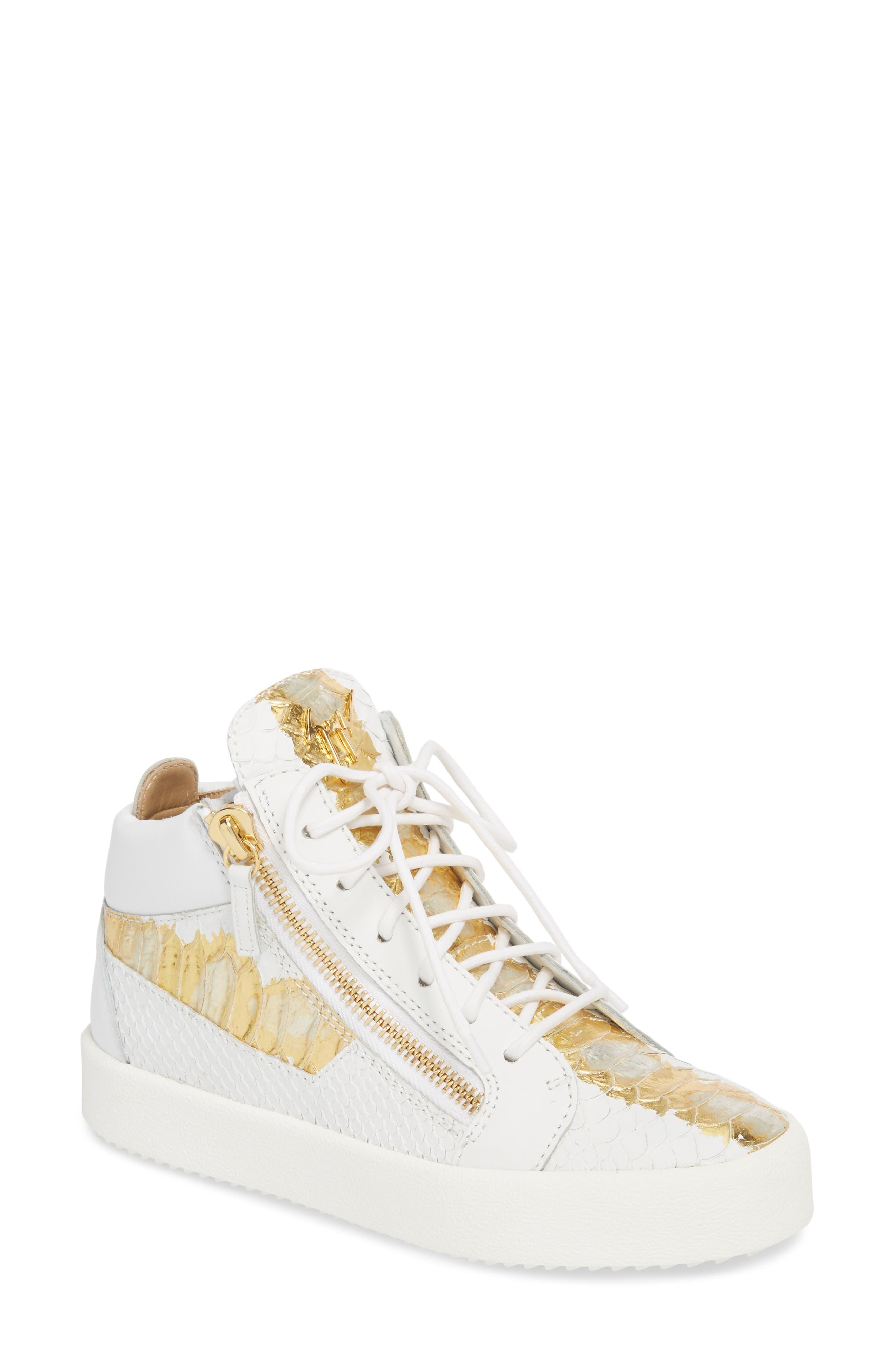 GIUSEPPE ZANOTTI, May London Mid Top Sneaker, Main thumbnail 1, color, WHITE/NEON YELLOW