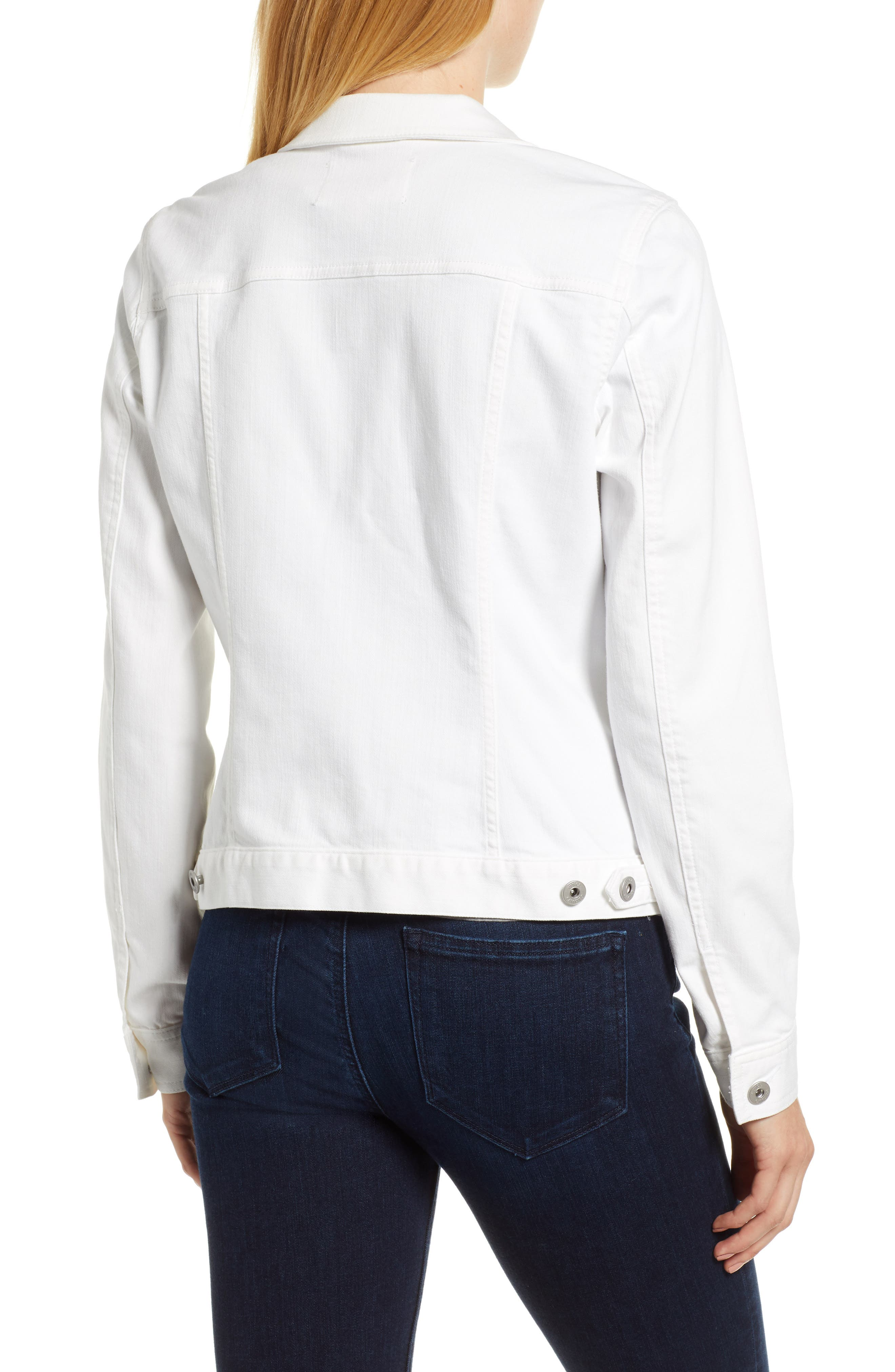 VINCE CAMUTO, Two by Vince Camuto Denim Jacket, Alternate thumbnail 2, color, ULTRA WHITE