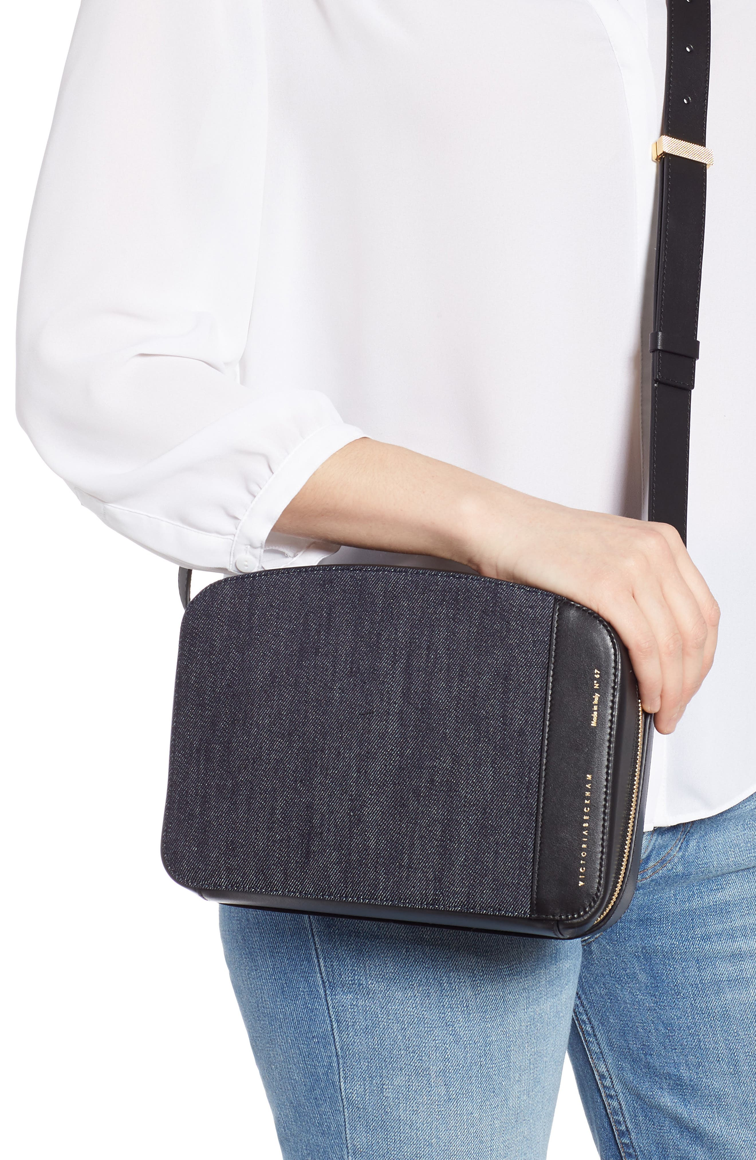 VICTORIA BECKHAM, Vanity Denim & Leather Camera Bag, Alternate thumbnail 2, color, INDIGO/ BLACK