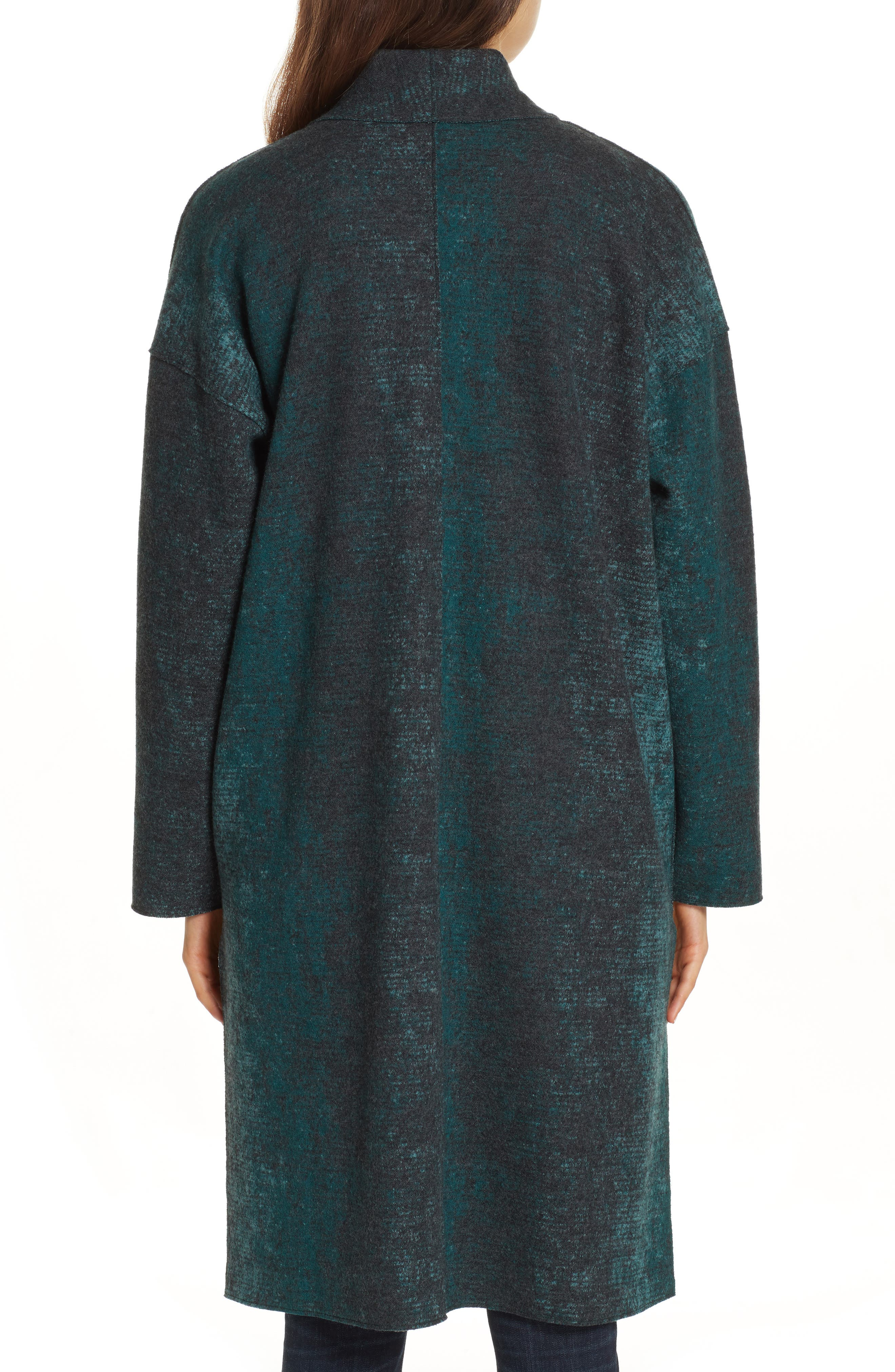 EILEEN FISHER, Wool Blend Kimono Coat, Alternate thumbnail 2, color, PINE