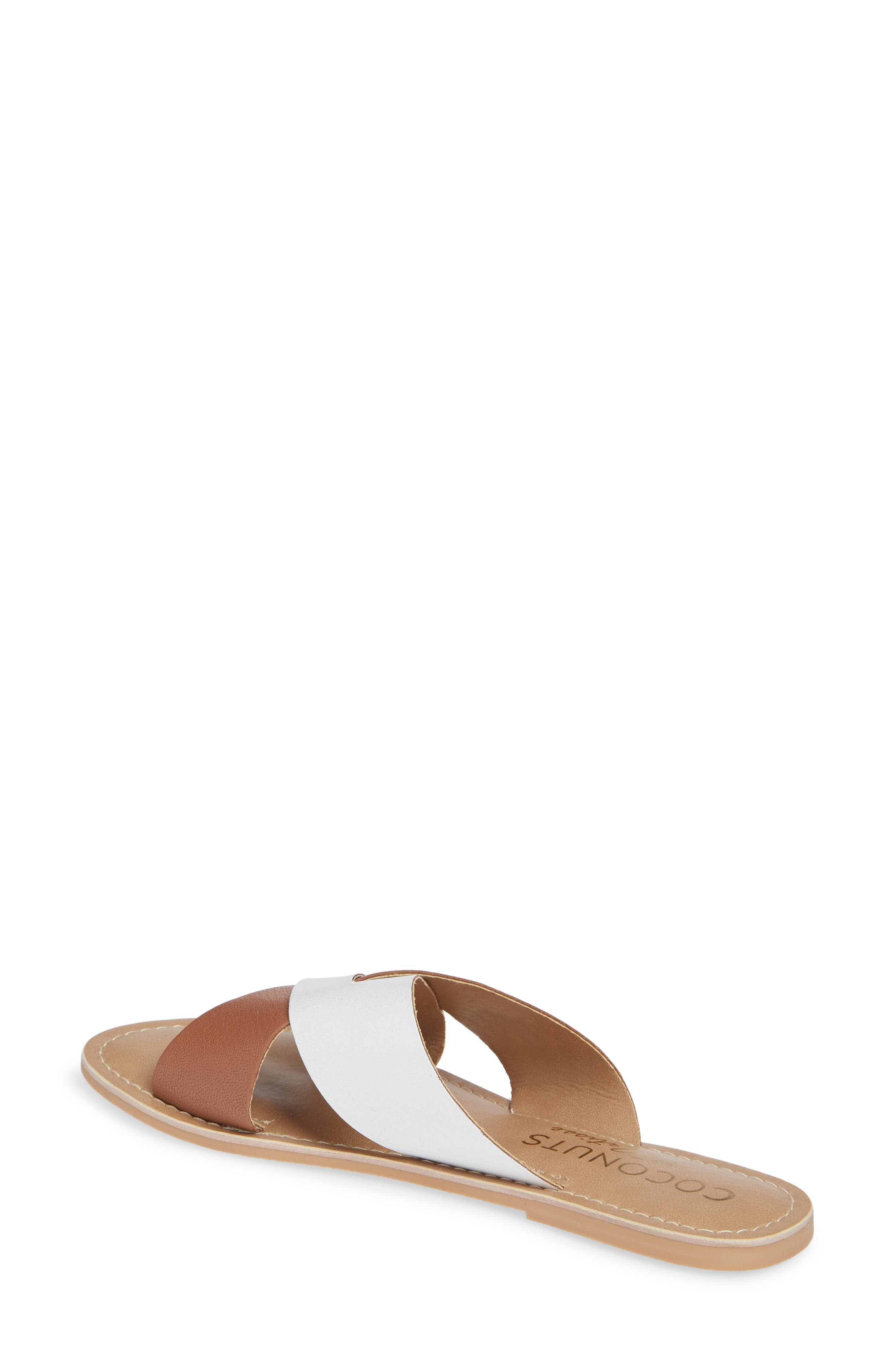 COCONUTS BY MATISSE, Wilma Slide Sandal, Alternate thumbnail 2, color, TAN/ WHITE LEATHER