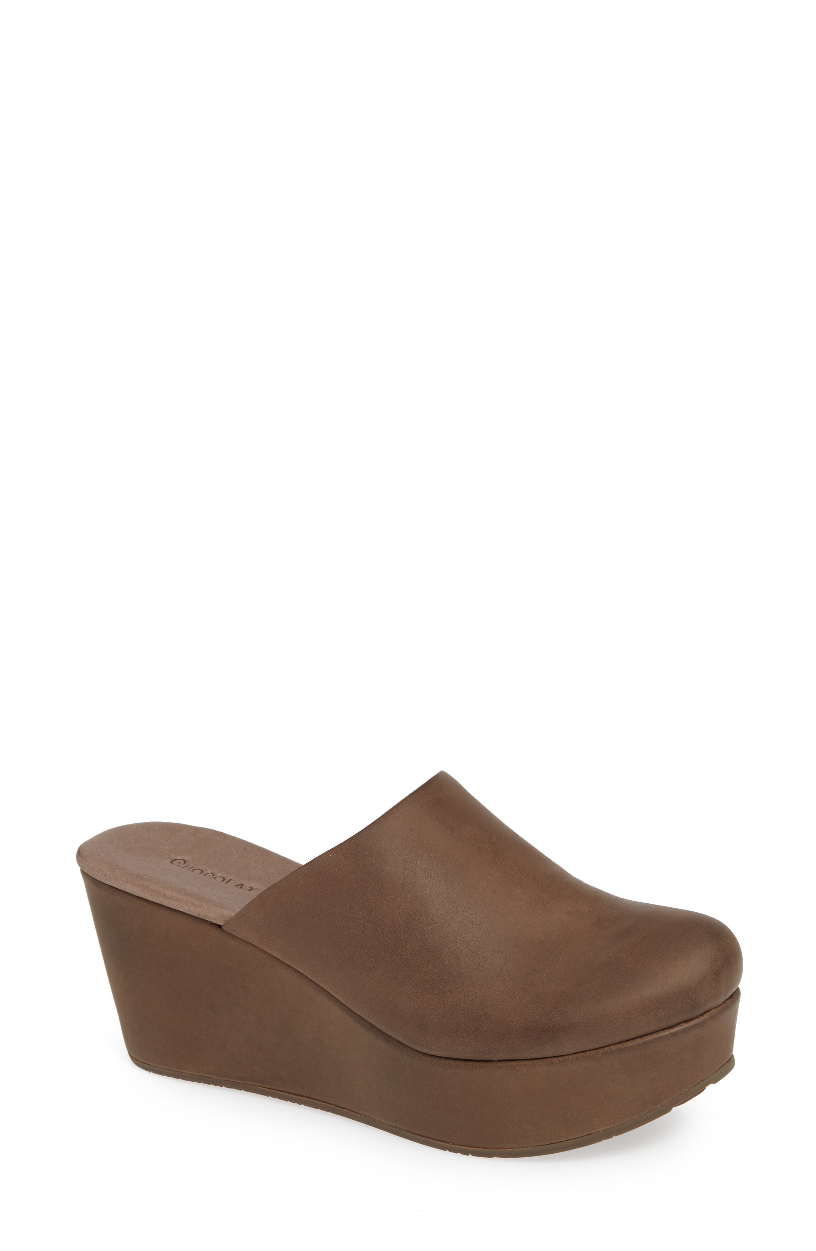 CHOCOLAT BLU, Wylie Wedge Mule, Main thumbnail 1, color, CHOCOLATE LEATHER