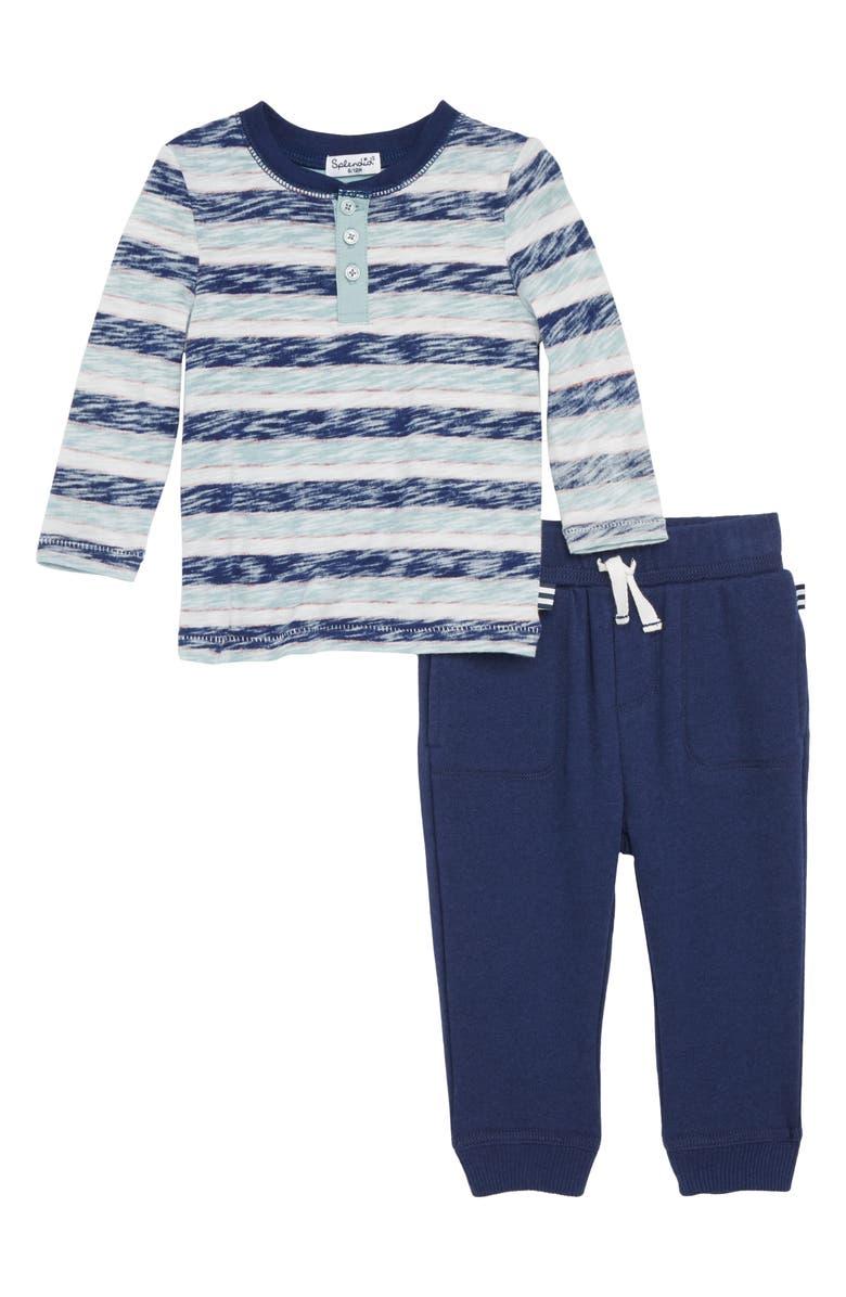 Reverse Stripe Henley & Sweatpants Set