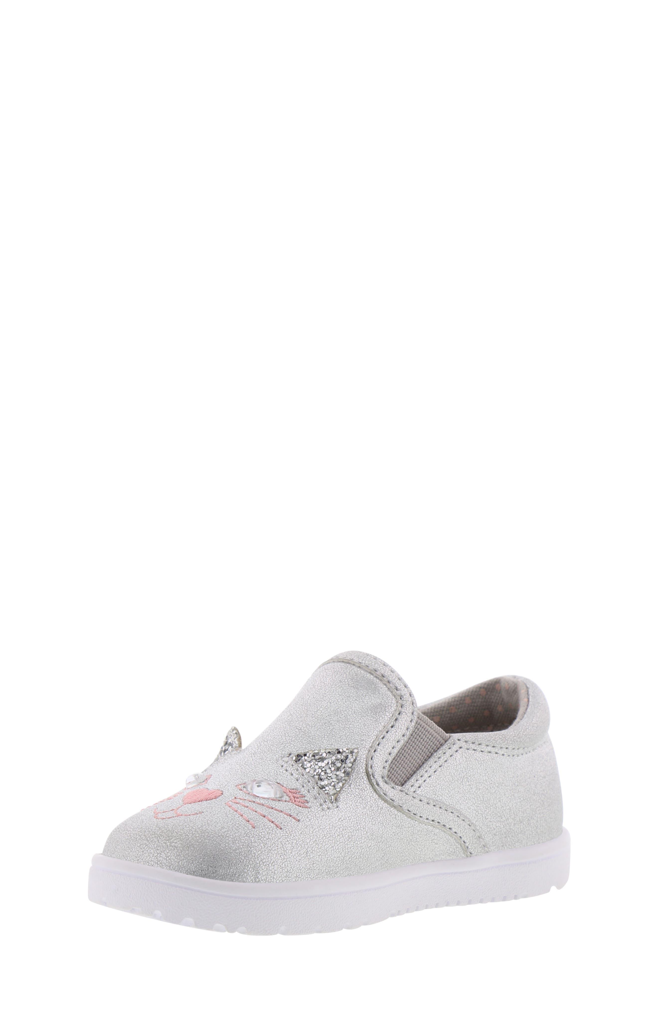 BØRN, Bailey Jaslyna Slip-On Glitter Sneaker, Alternate thumbnail 8, color, SILVER