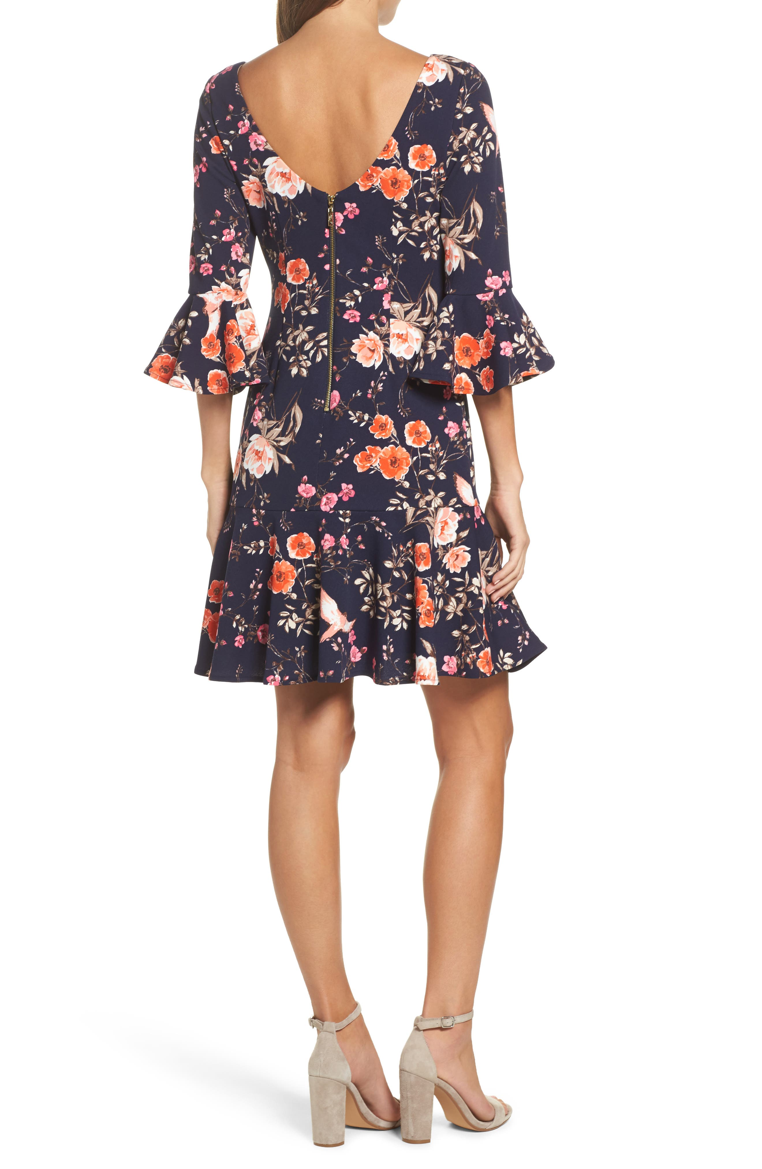 ELIZA J, Bell Sleeve Flounce Dress, Alternate thumbnail 2, color, NAVY