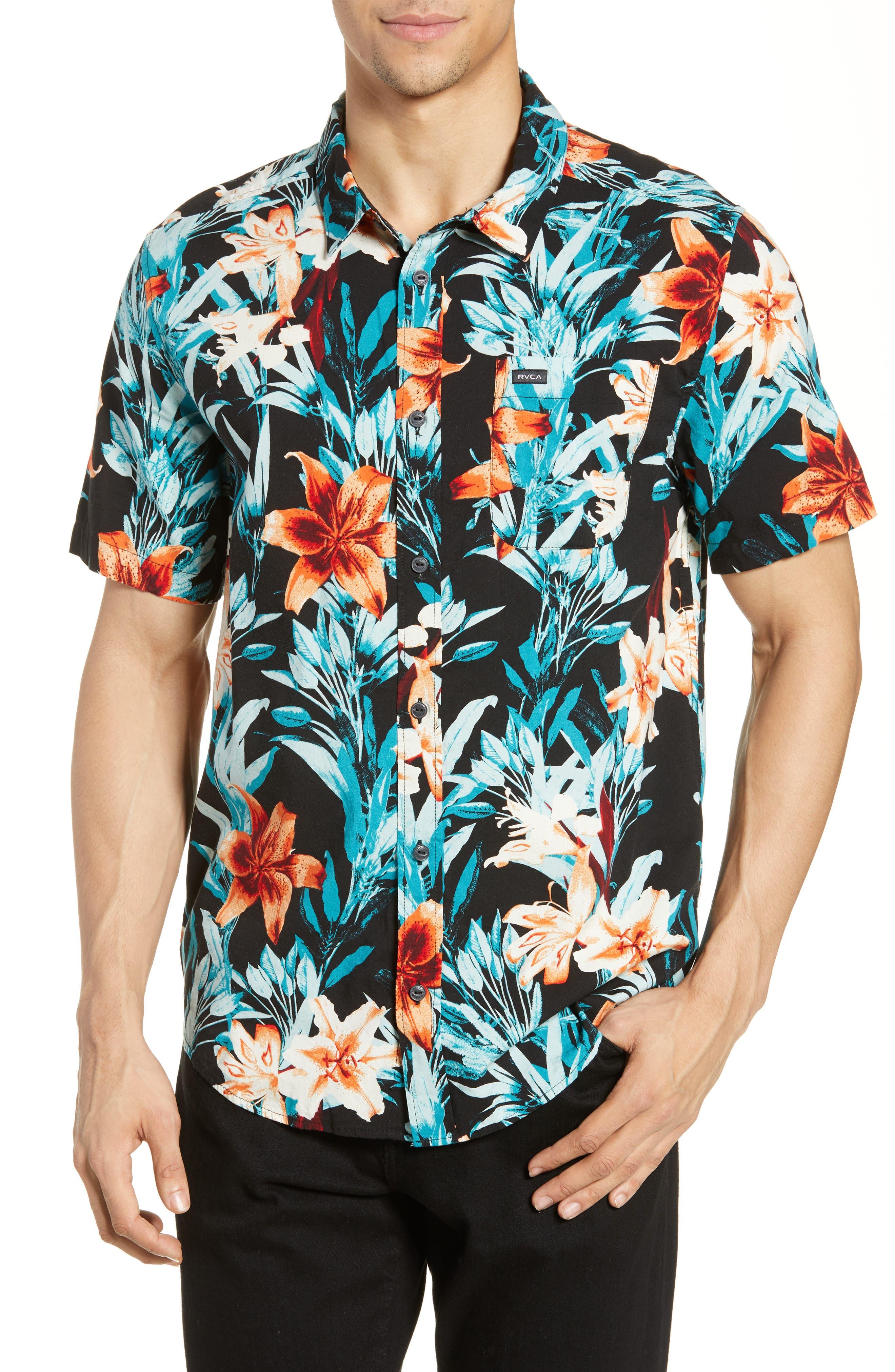 RVCA, Montague Floral Woven Shirt, Main thumbnail 1, color, 001