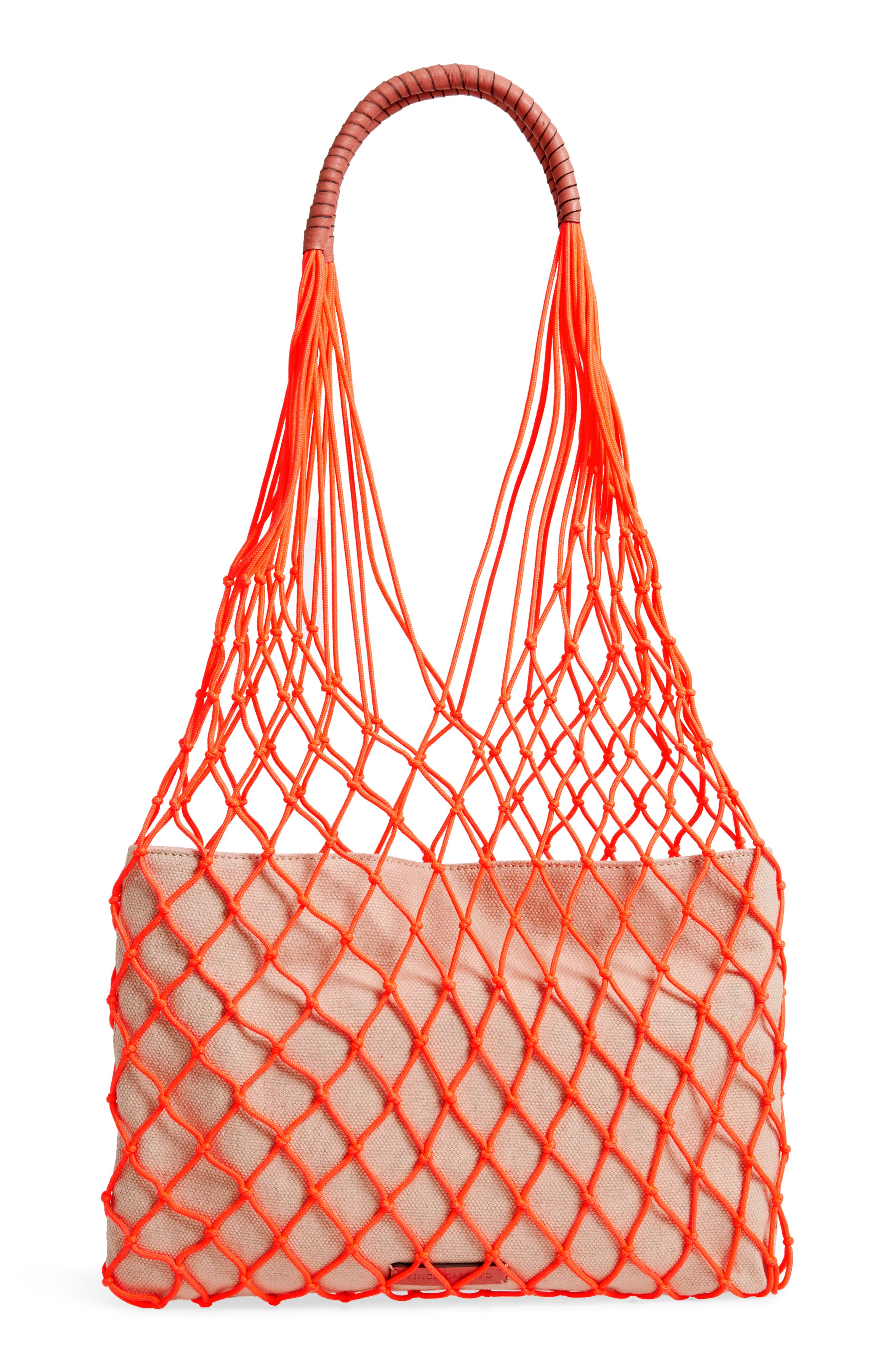 VINCE CAMUTO, Zest Tote, Alternate thumbnail 4, color, FIERY CORAL
