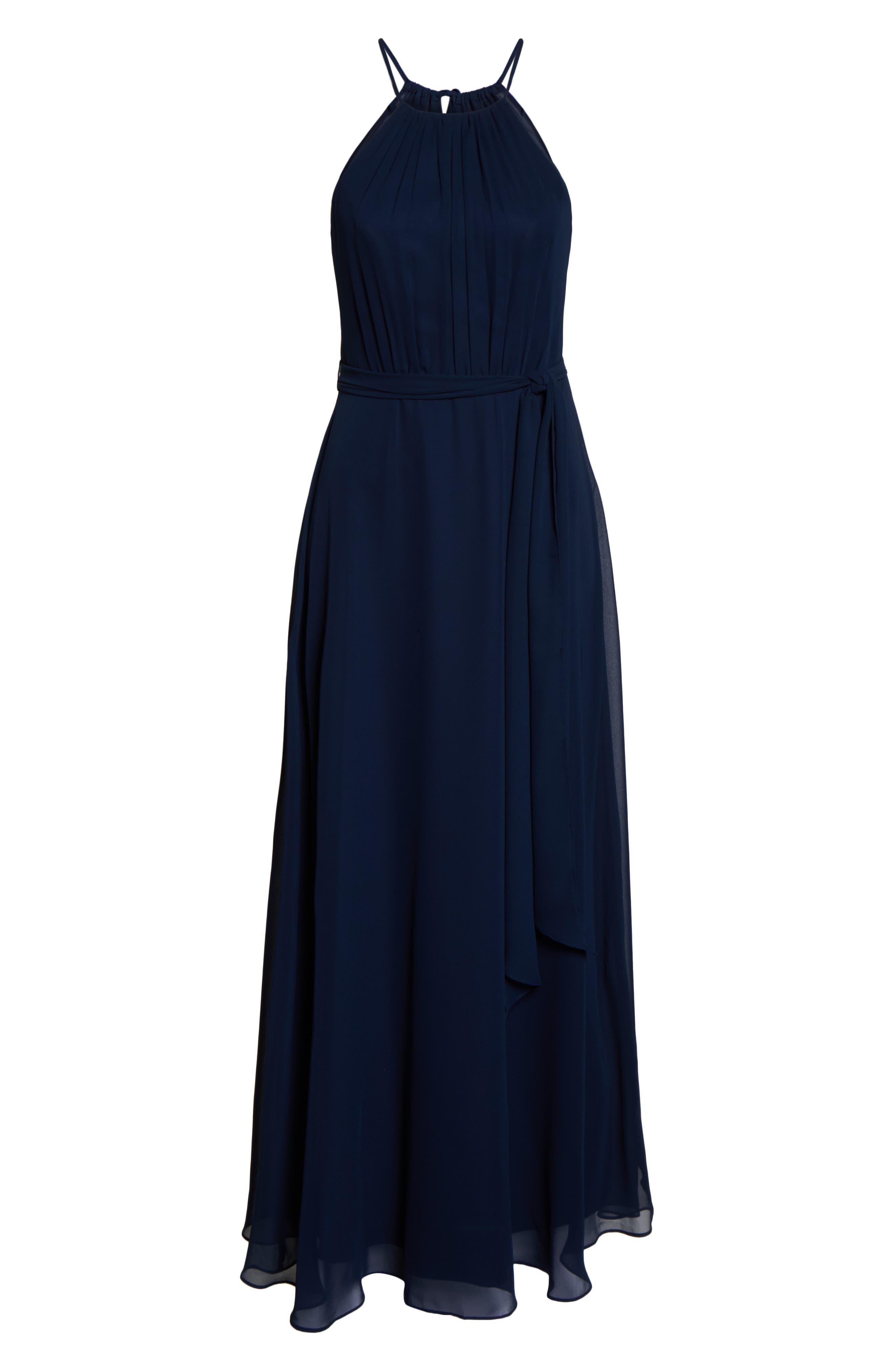 #LEVKOFF, Halter Neck Tie Detail Chiffon Gown, Alternate thumbnail 5, color, NAVY