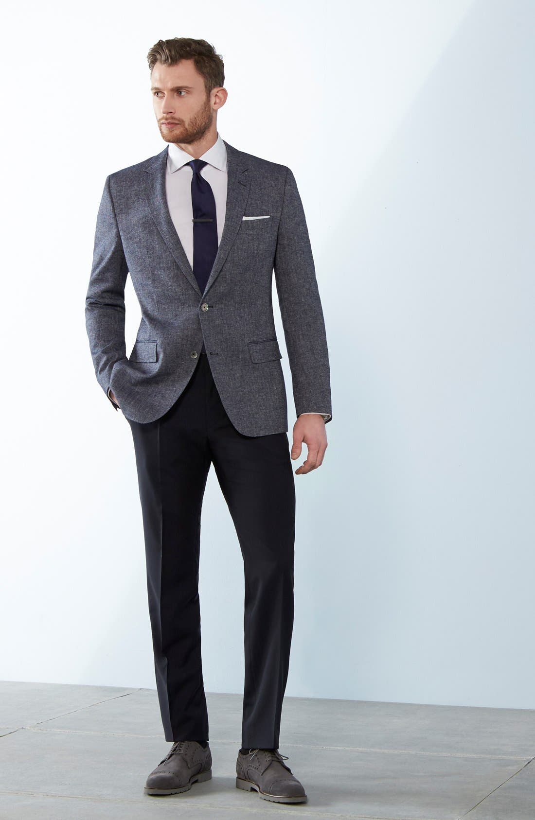 BOSS, Genesis Flat Front Solid Wool Trousers, Alternate thumbnail 7, color, CHARCOAL
