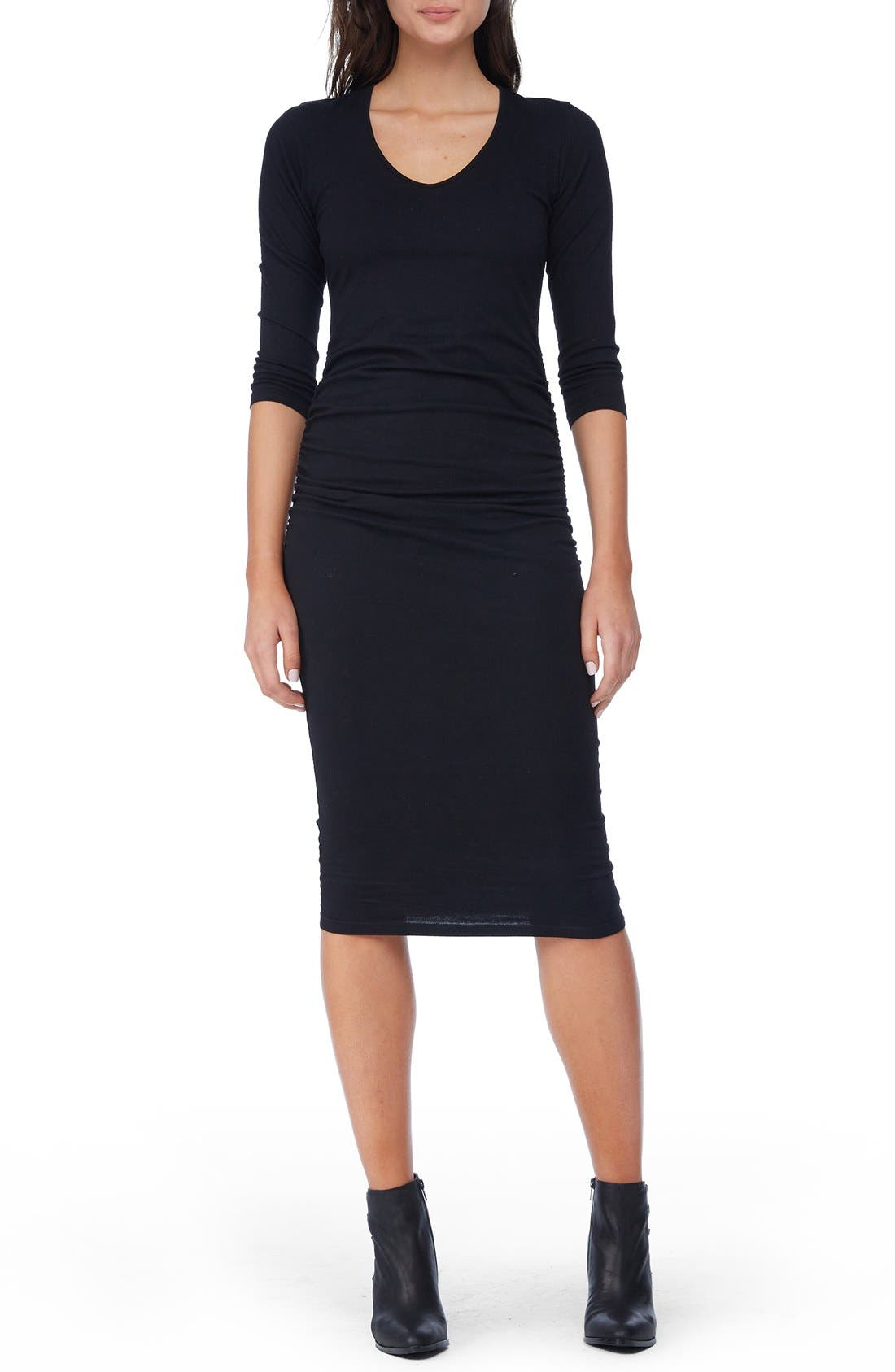 MICHAEL STARS, Ruched Midi Dress, Main thumbnail 1, color, BLACK