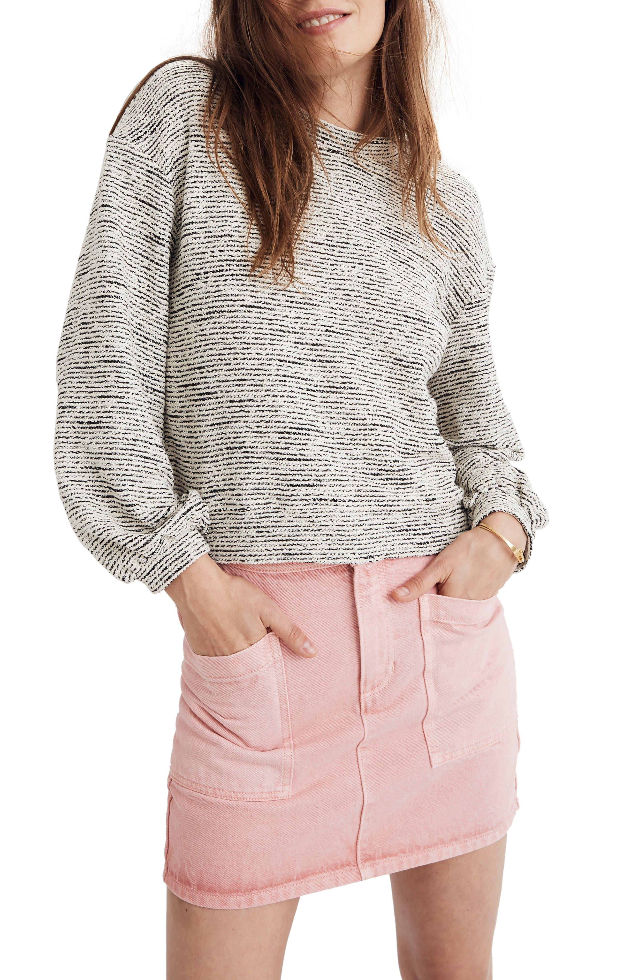 MADEWELL Texture & Thread Bubble Sleeve Sweatshirt, Main, color, HEATHER GREY