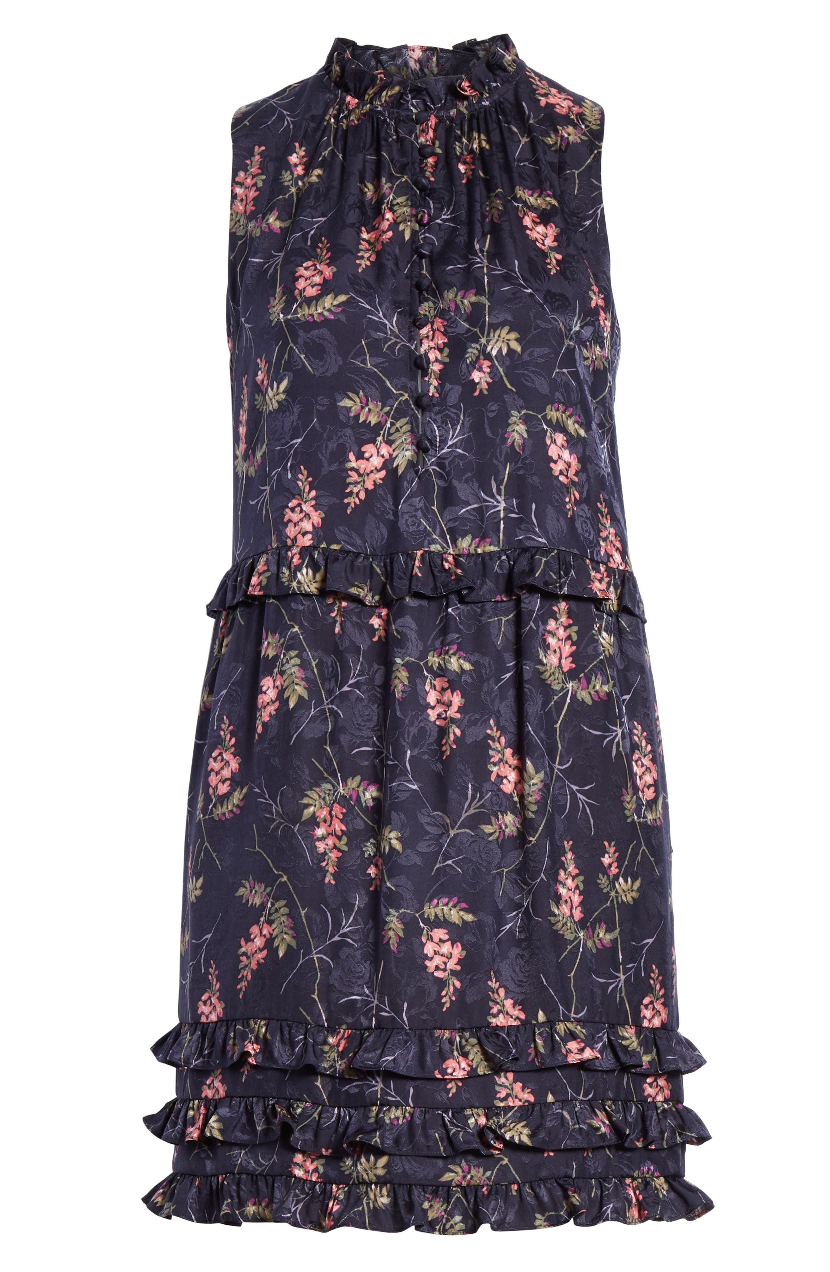 REBECCA TAYLOR, Ivie Floral Ruffle Silk Blend Dress, Alternate thumbnail 6, color, NAVY COMBO